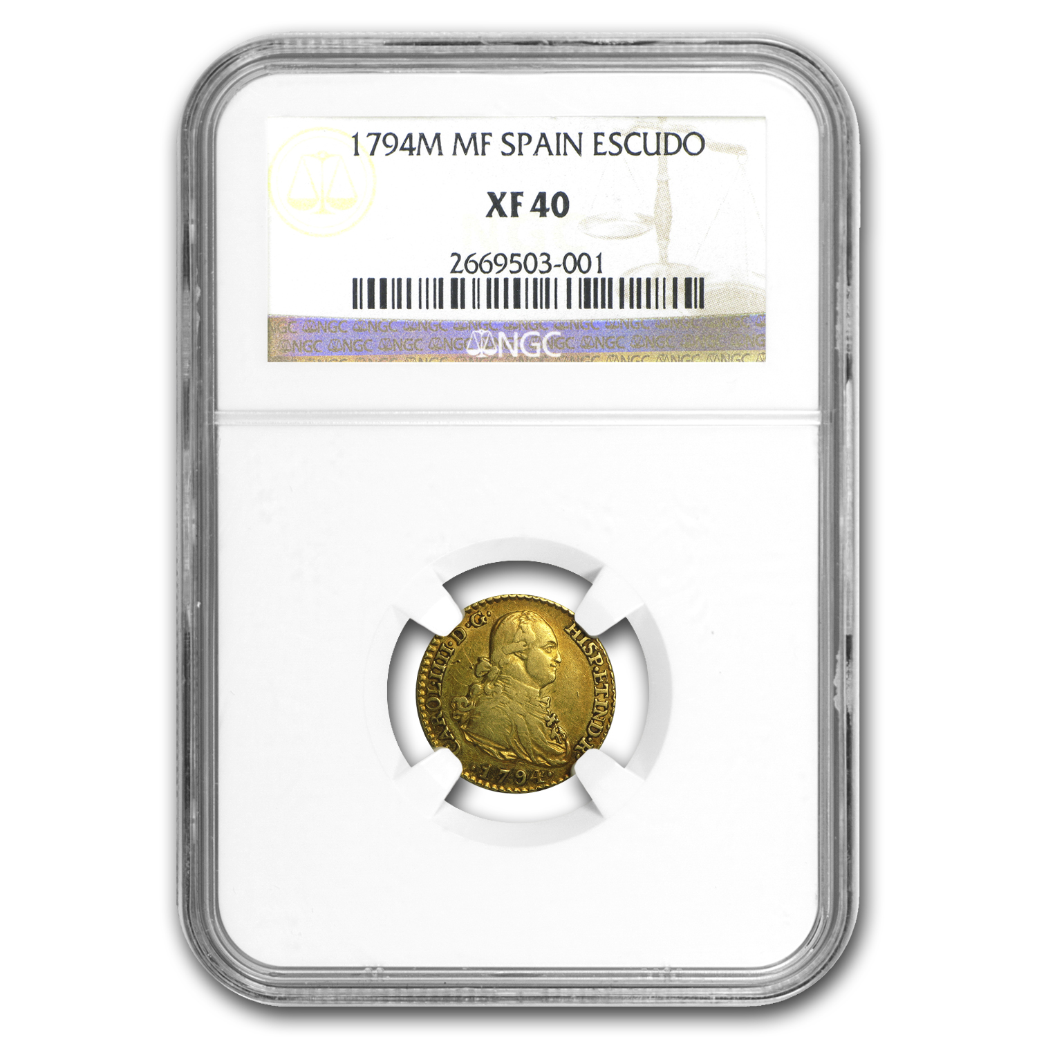 1794-MF Spain Gold Escudo XF-40 NGC