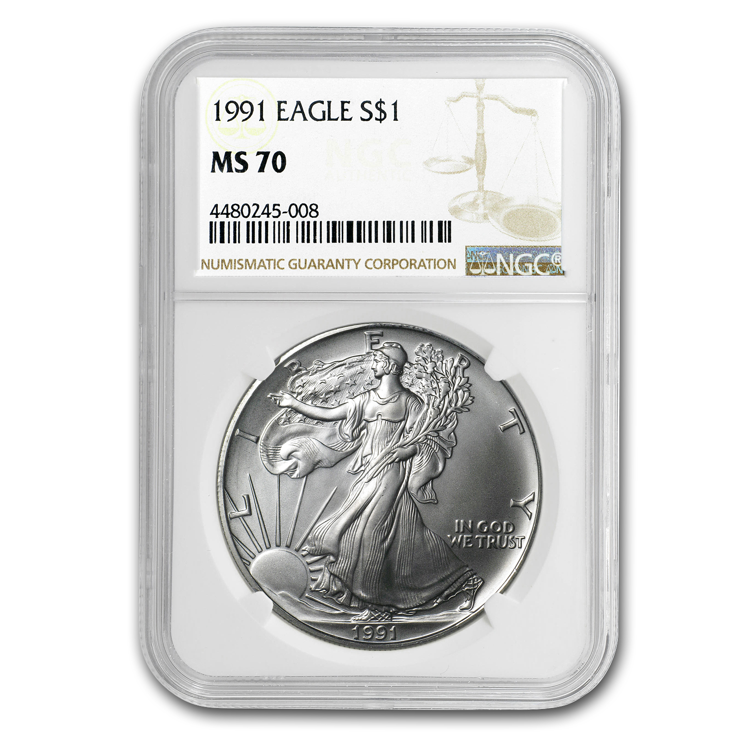 1991 Silver American Eagle MS-70 NGC (Registry Set)