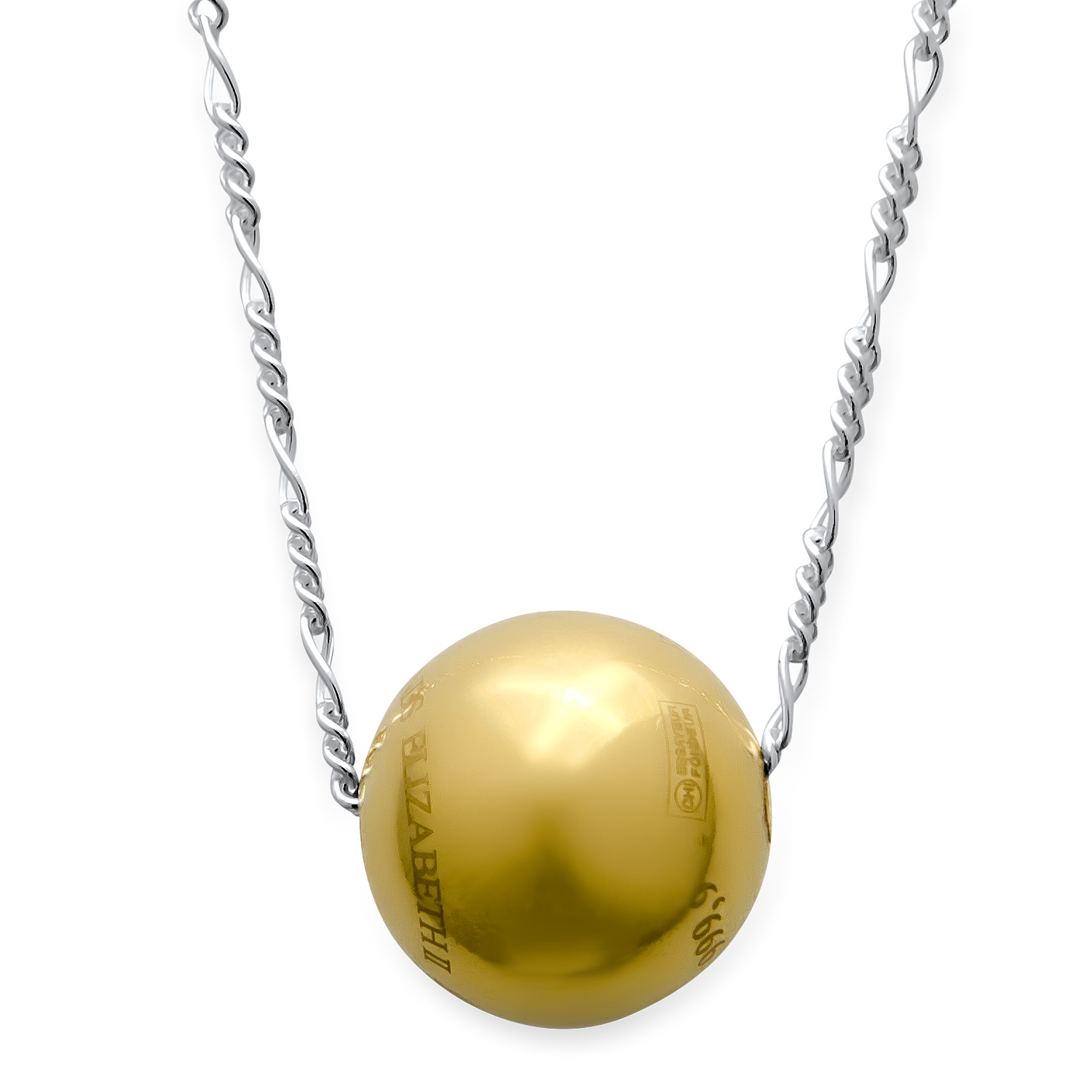2015 2 gm Cook Islands $10 Gold Sphere Valcambi (w/Silver Chain)