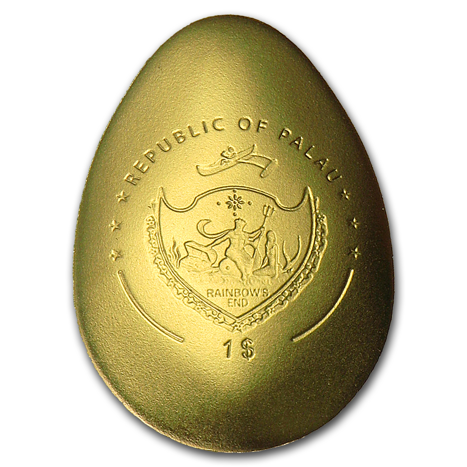 Palau 1/2 gram Golden Imperial Egg 2 w/Convex Shape Proof