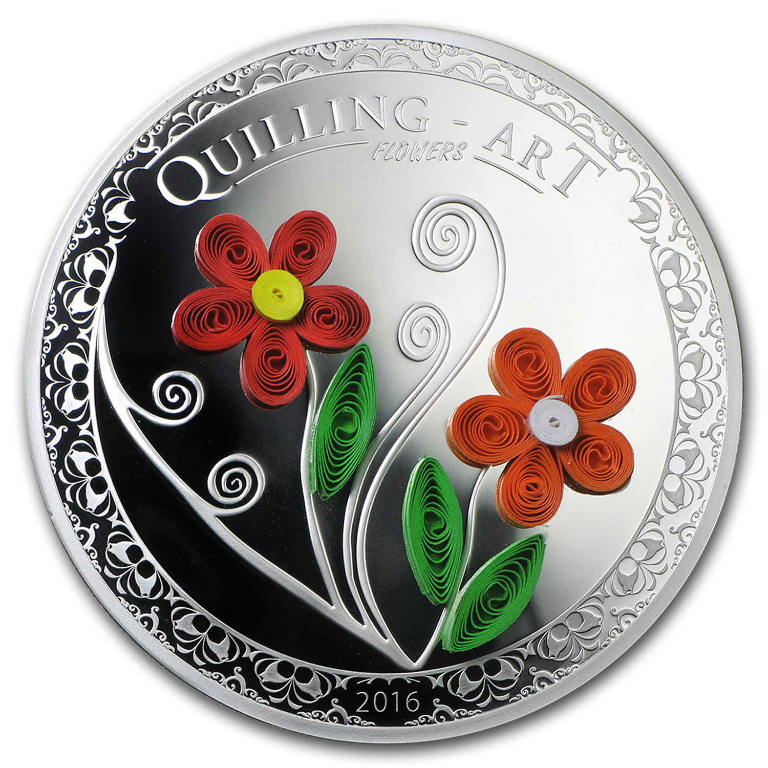 2016 Cook Islands Silver Quilling Art (Flowers)