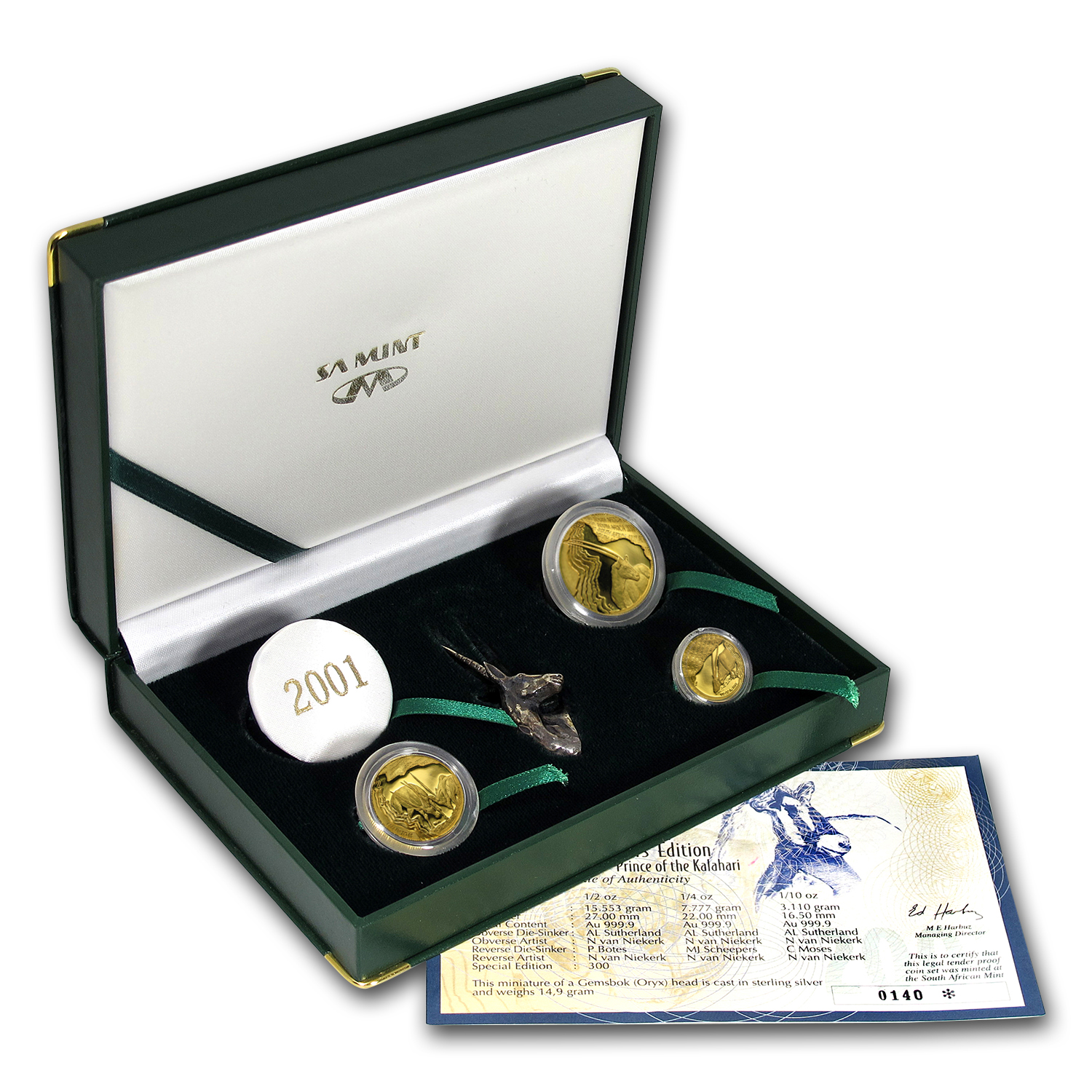 2001 South Africa 3-Coin Gold Natura Oryx Prestige Proof Set
