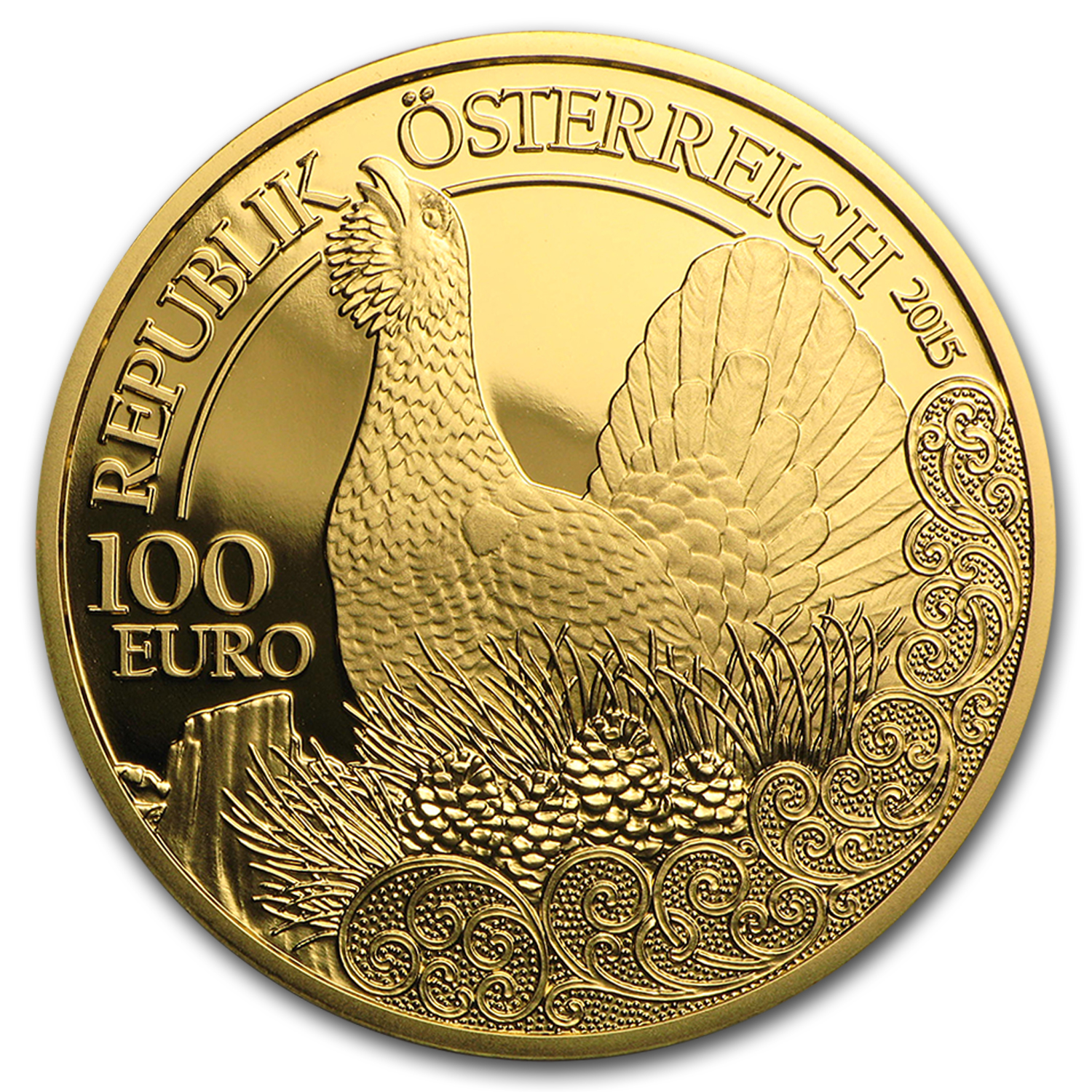 2015 Austria Gold €100 The Capercaillie Proof