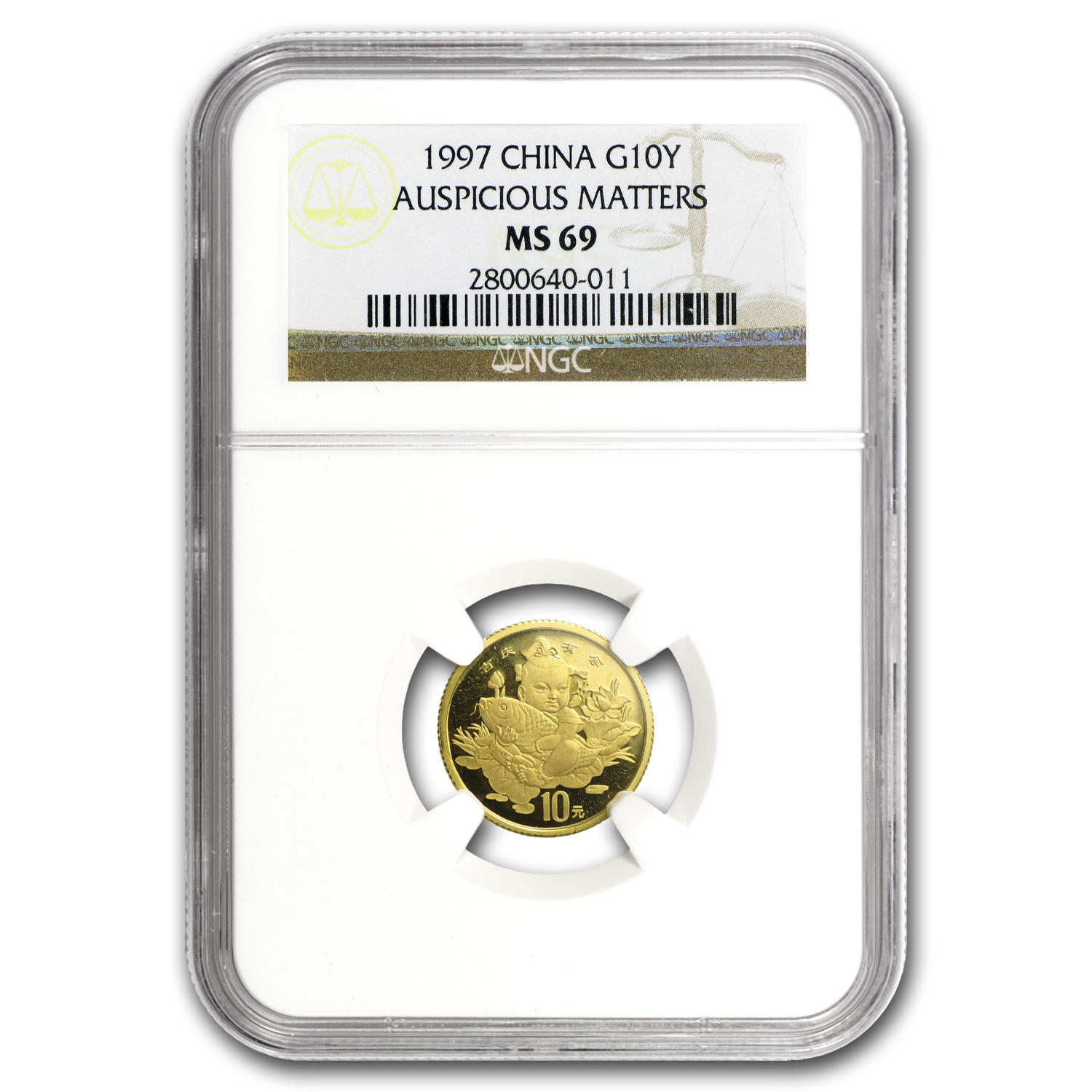 1997 China 1/10 oz Gold Coin of Auspicious Matters MS-69 NGC