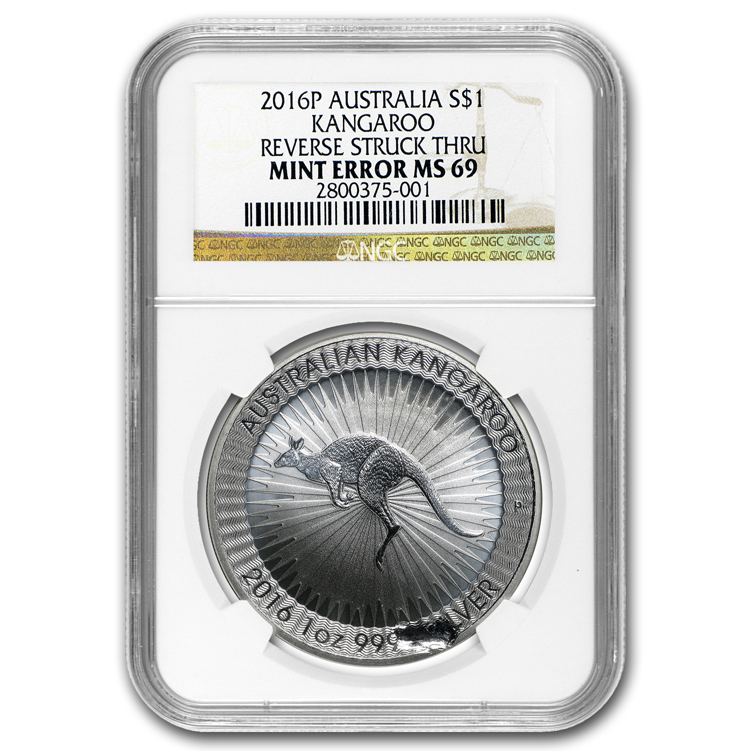2016 AUS 1 oz Silver Kangaroo MS-69 NCG Mint Error (Struck Thru)