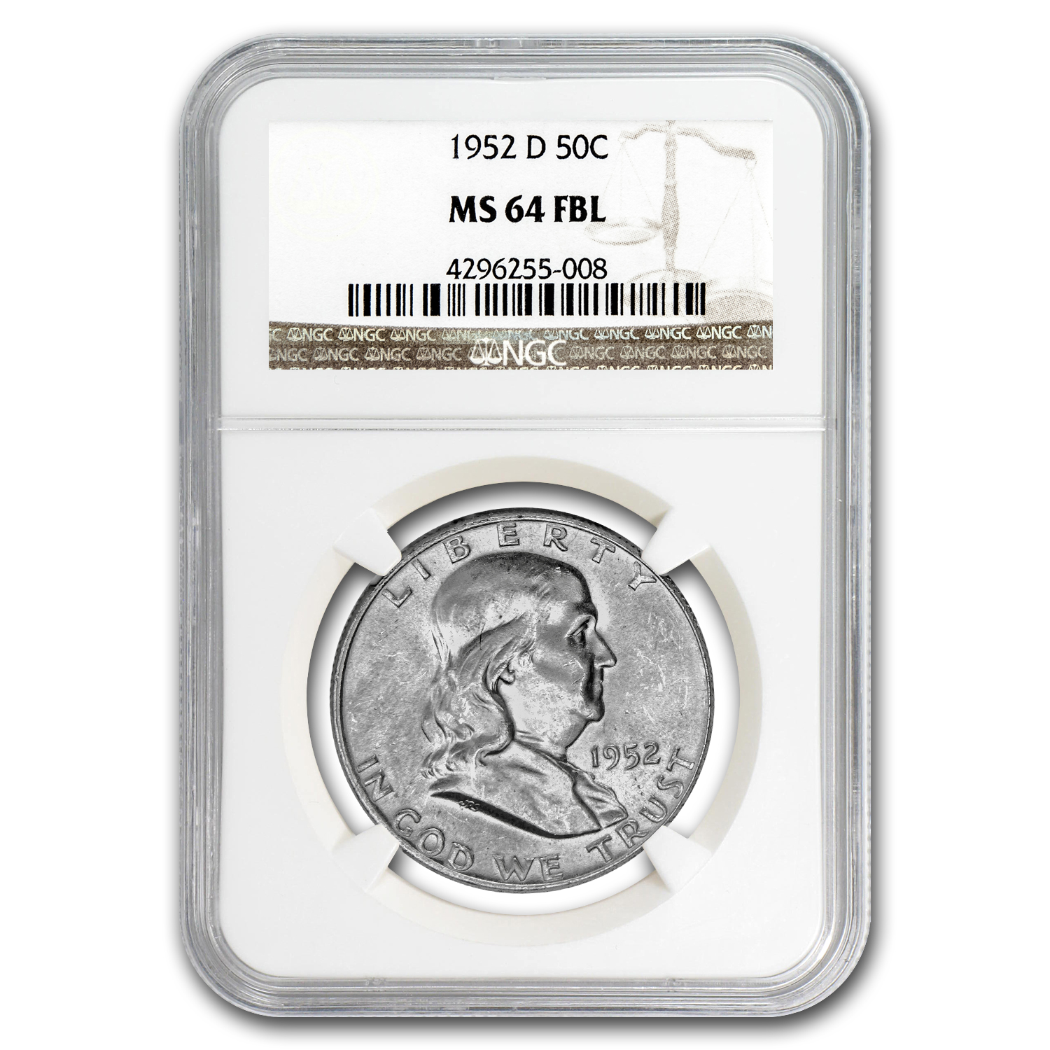 1952-D Franklin Half Dollar MS-64 NGC (FBL)