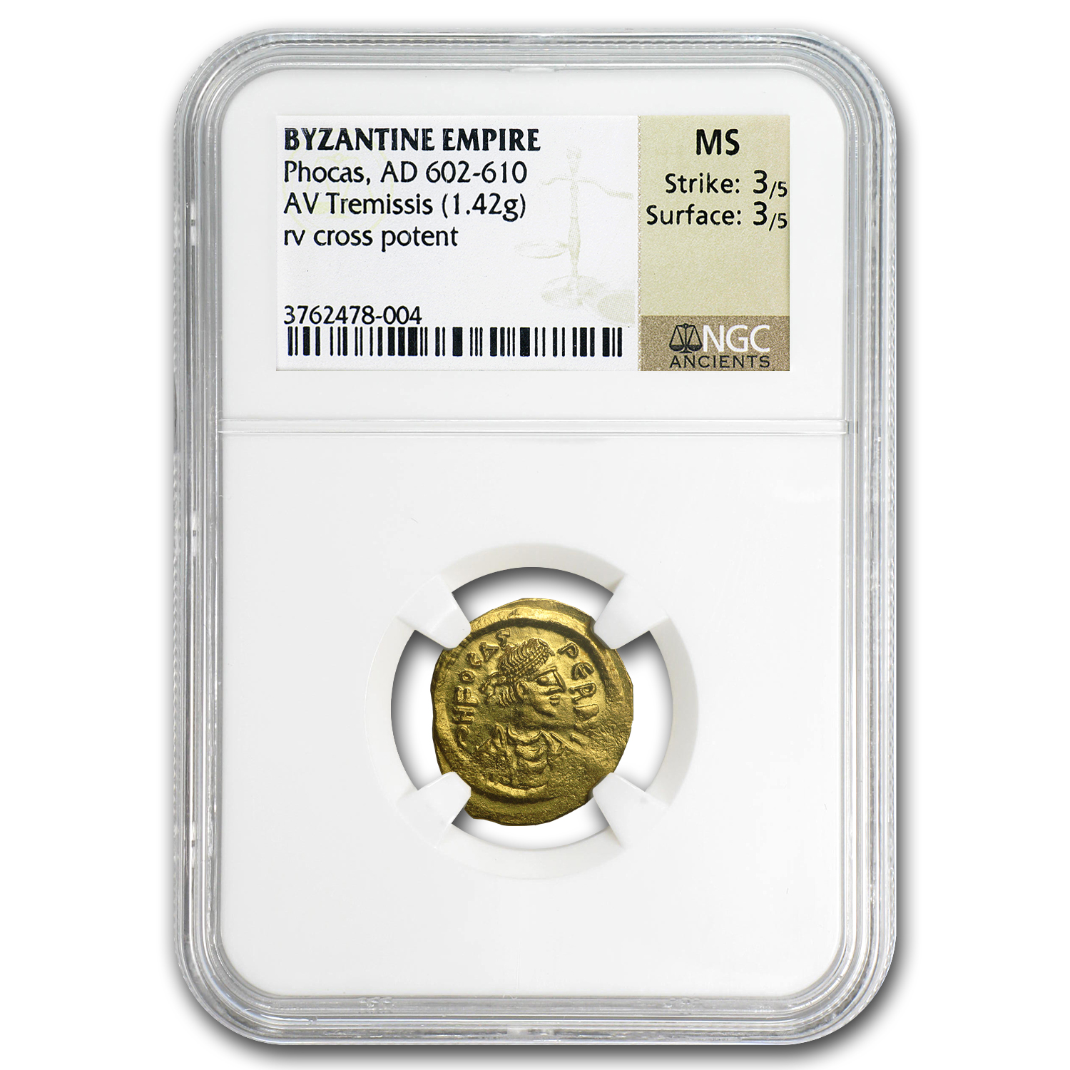 Byzantine Gold Tremissis Emperor Phocas (602-610 AD) MS NGC