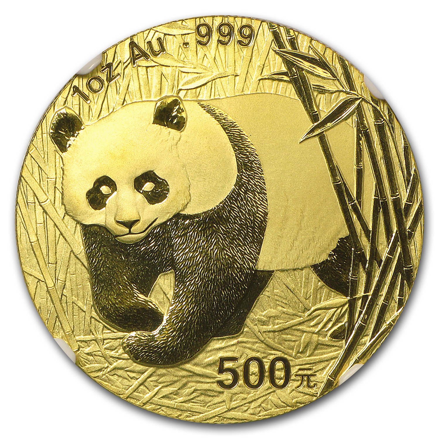 2002 China 1 oz Gold Panda Frosted Bamboo MS-69 NGC