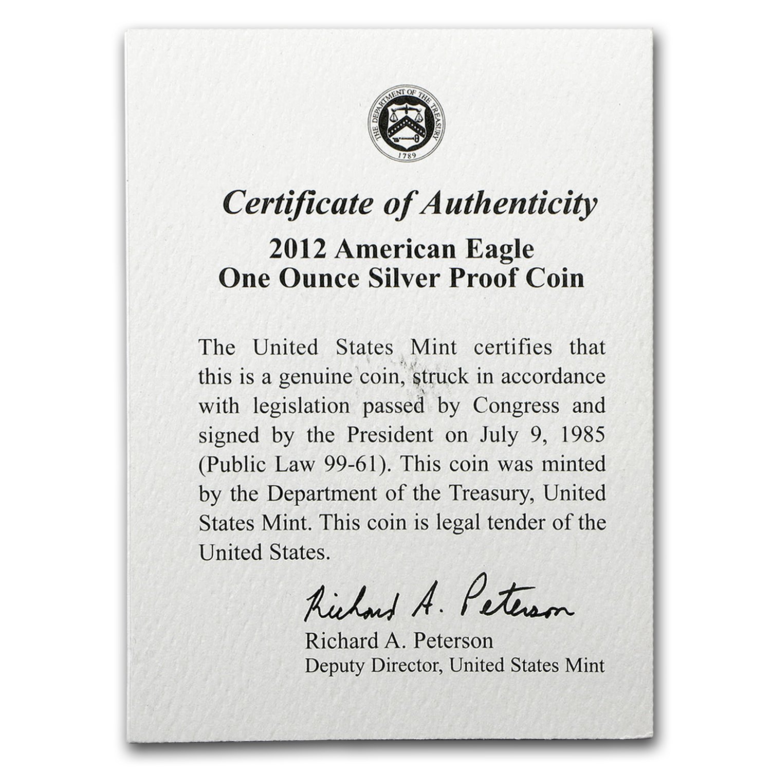 COA - 2012 US Mint 1 oz Silver American Eagle (Proof)