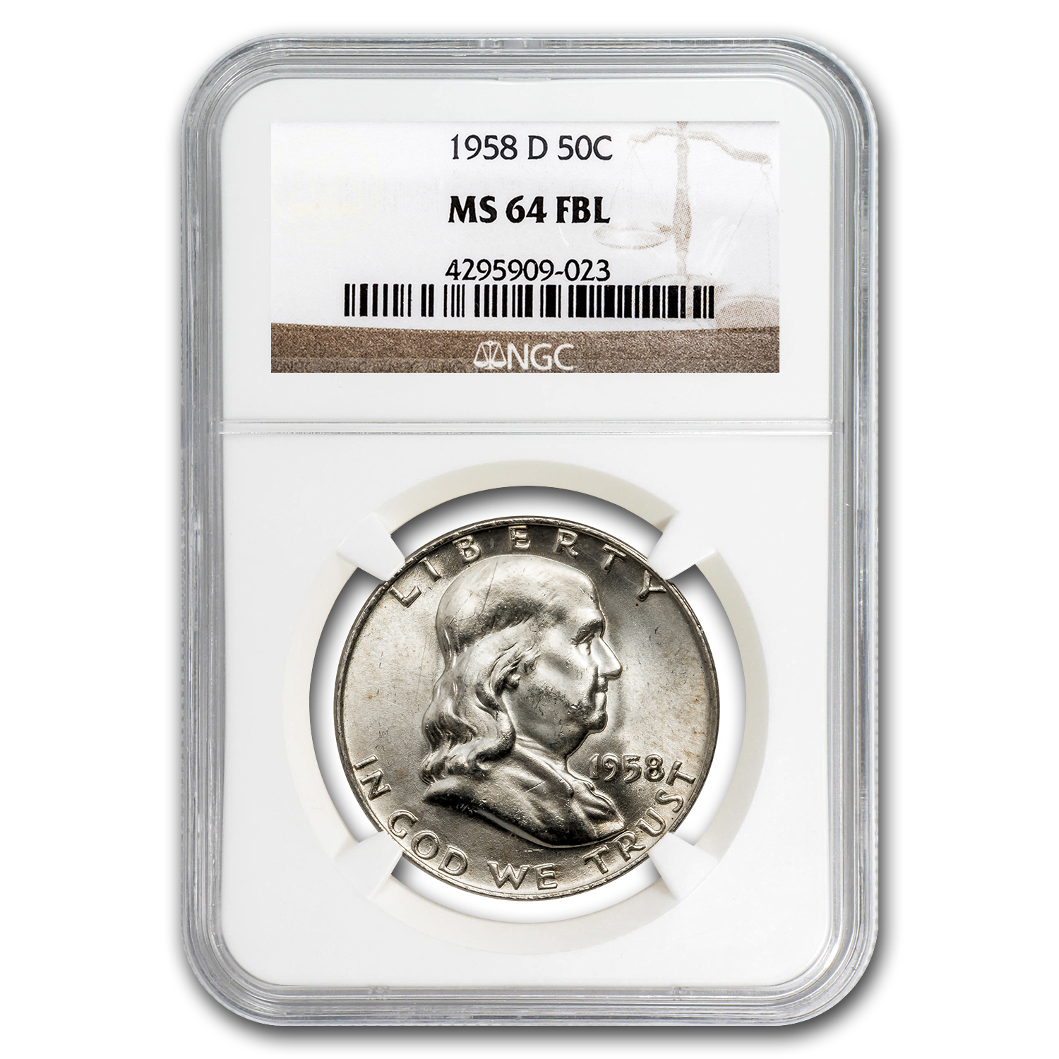 1958-D Franklin Half Dollar MS-64 NGC (FBL)