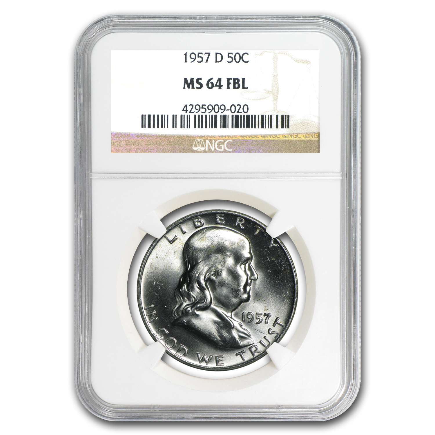 1957-D Franklin Half Dollar MS-64 NGC (FBL)