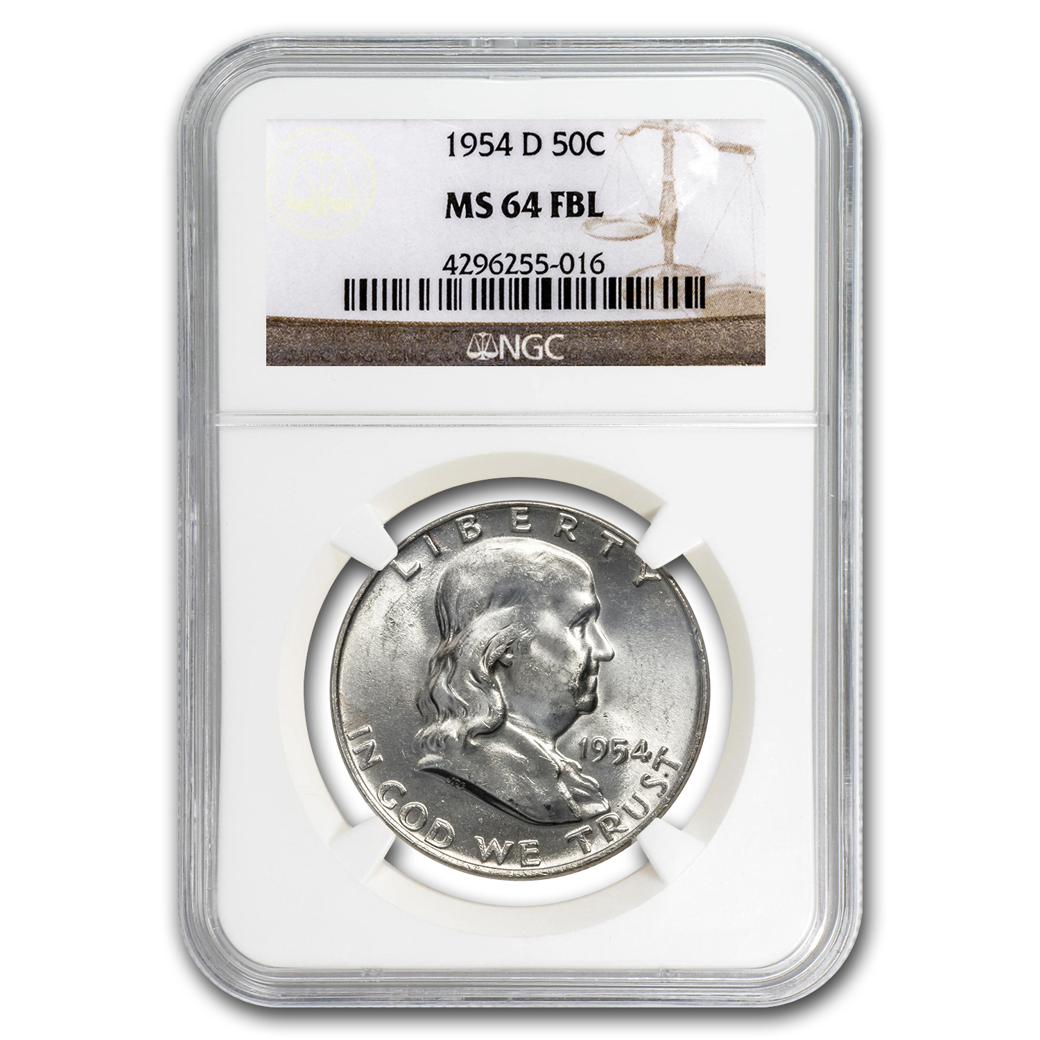 1954-D Franklin Half Dollar MS-64 NGC (FBL)