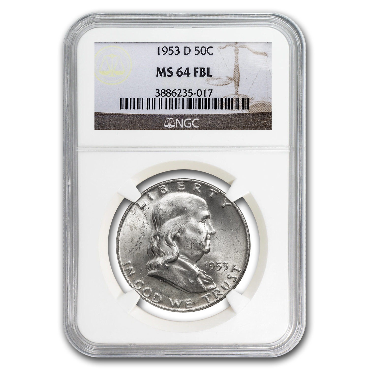 1953-D Franklin Half Dollar MS-64 NGC (FBL)