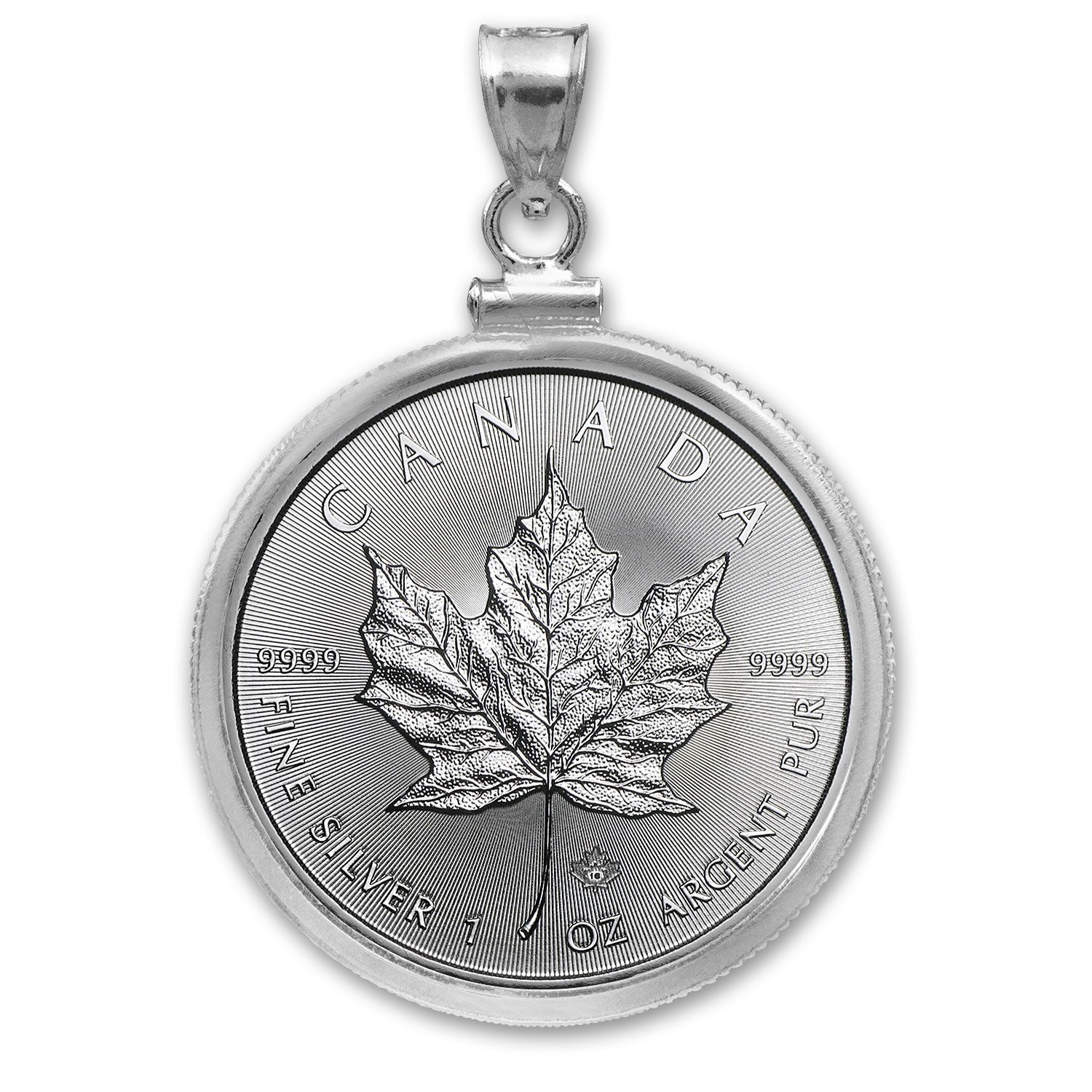 2016 1 oz Silver Maple Leaf Pendant (Plain Front Bezel)