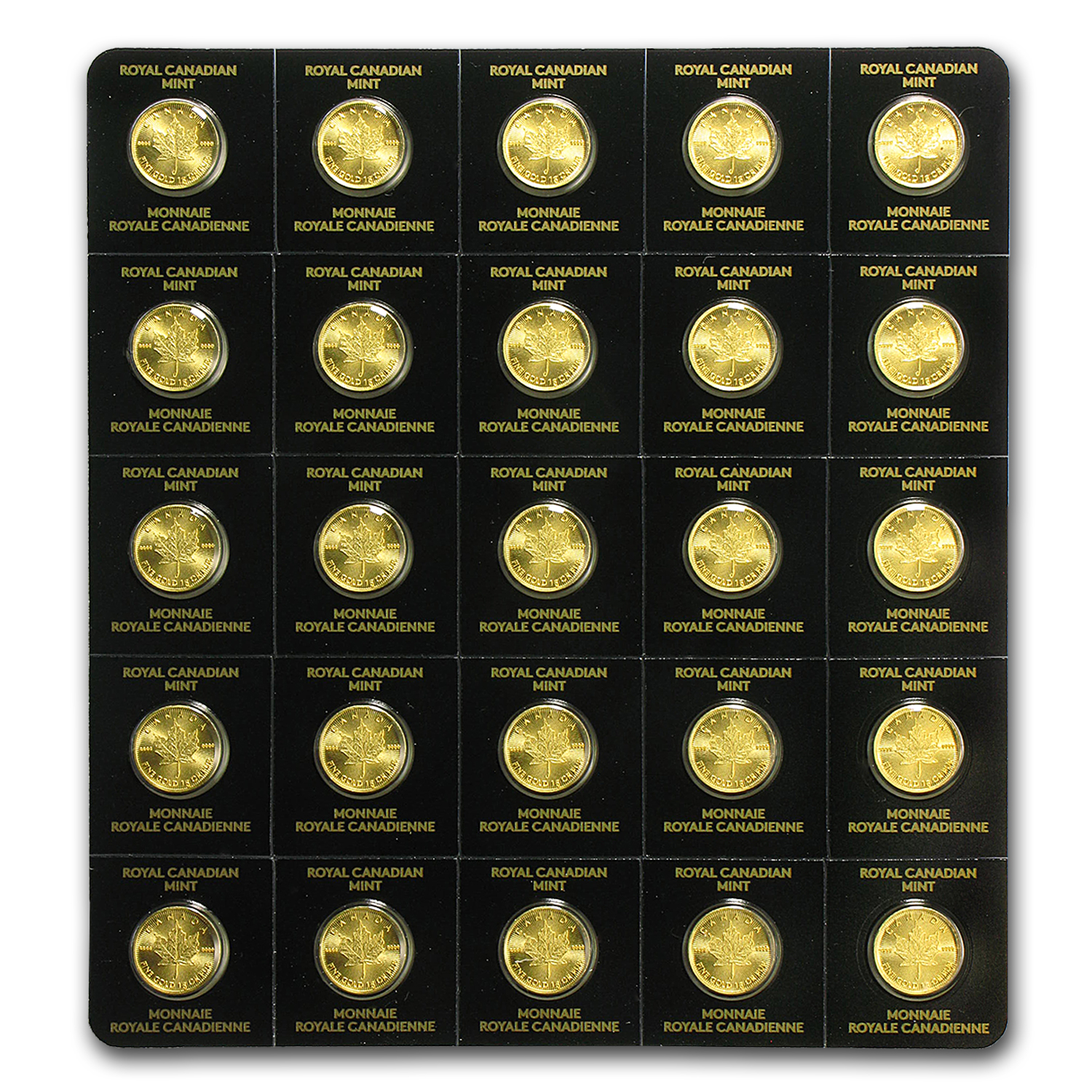 2016 25x 1 gram Gold Maple Leafs - Maplegram25™ (In Assay Sleeve)