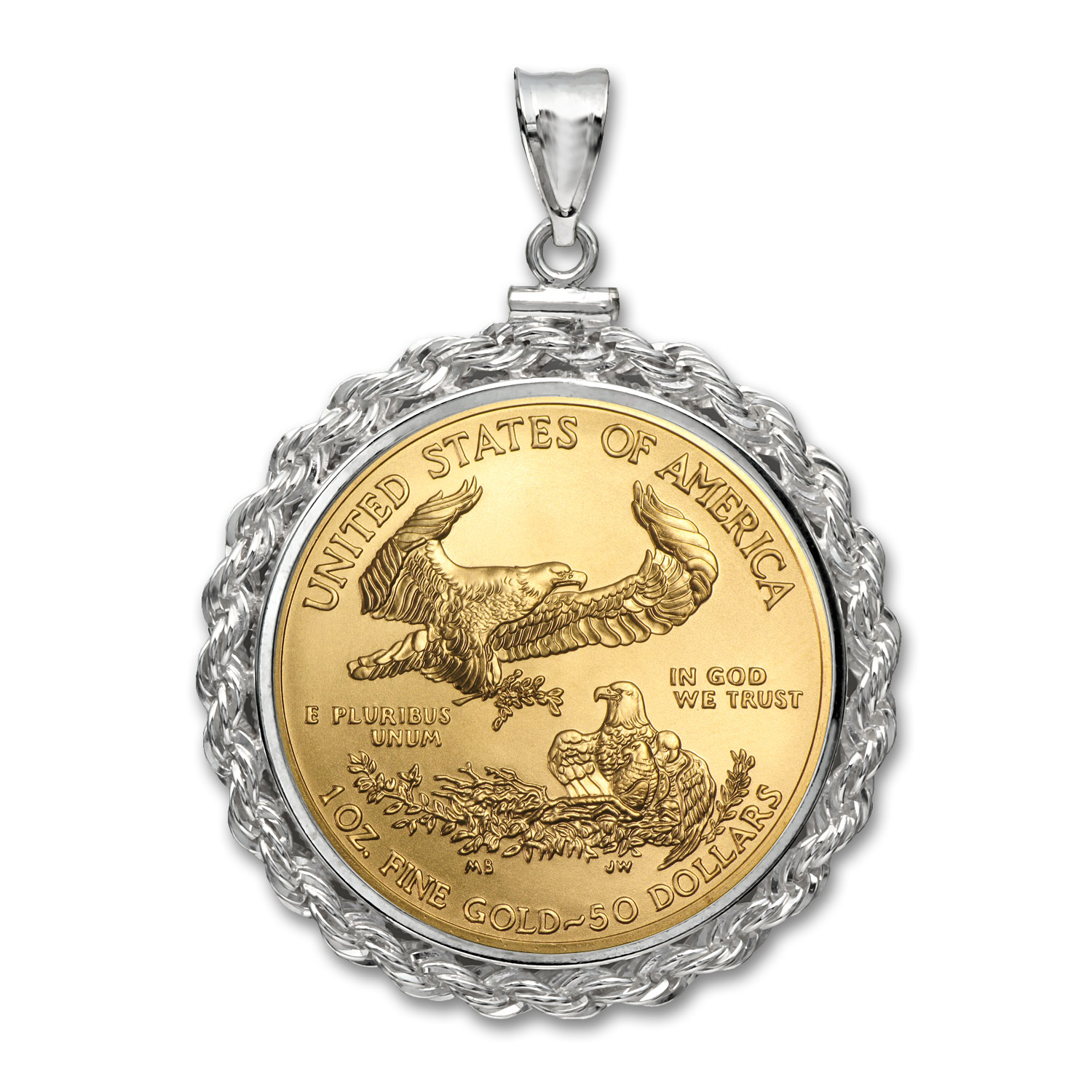2016 1 oz Gold Eagle White Gold Pendant (Rope-ScrewTop Bezel)