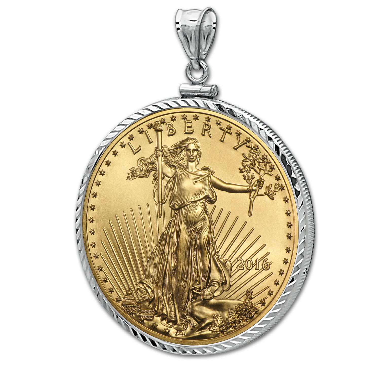 2016 1 oz Gold Eagle White Gold Pendant (Diamond-ScrewTop Bezel)