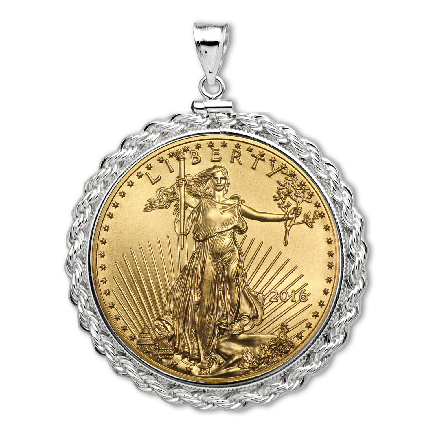 2016 1/2 oz Gold Eagle White Gold Pendant (Rope-ScrewTop Bezel)
