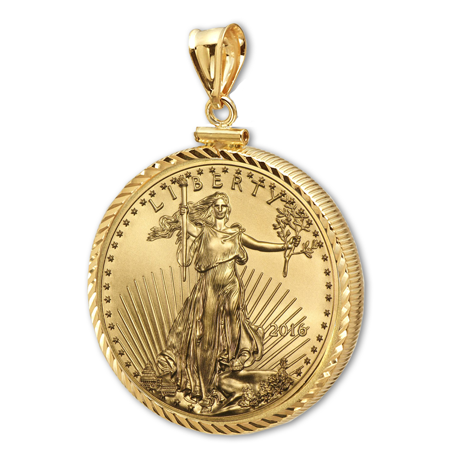 2016 1/2 oz Gold Eagle Pendant (Diamond-ScrewTop Bezel)
