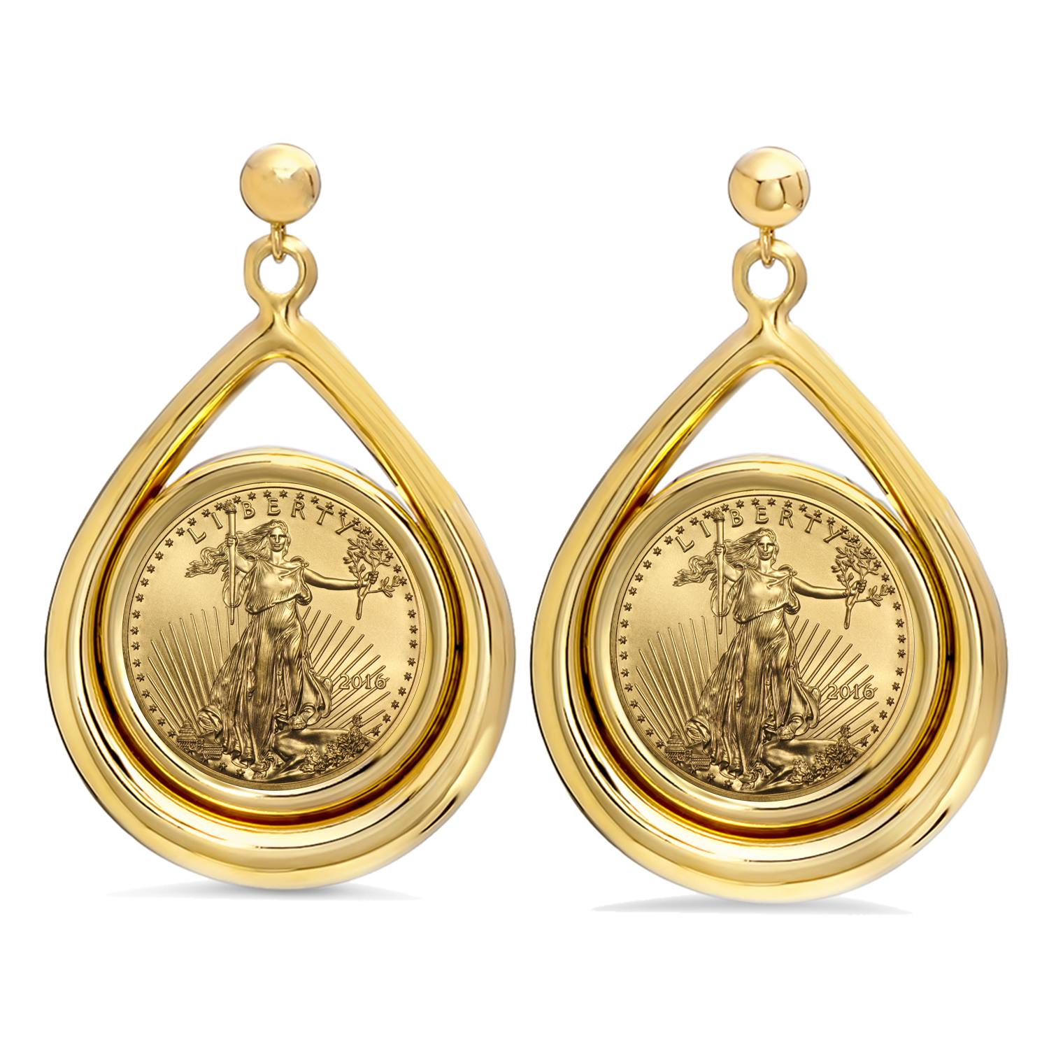 2016 1/10 oz Gold Eagle Tear Drop Dangle Coin Earrings