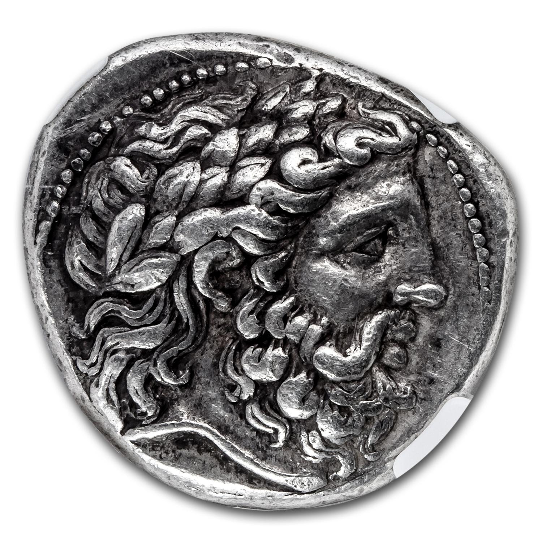 Macedonian Phillip II Tetradrachm CH XF* NGC (359-336 BC) Fine St