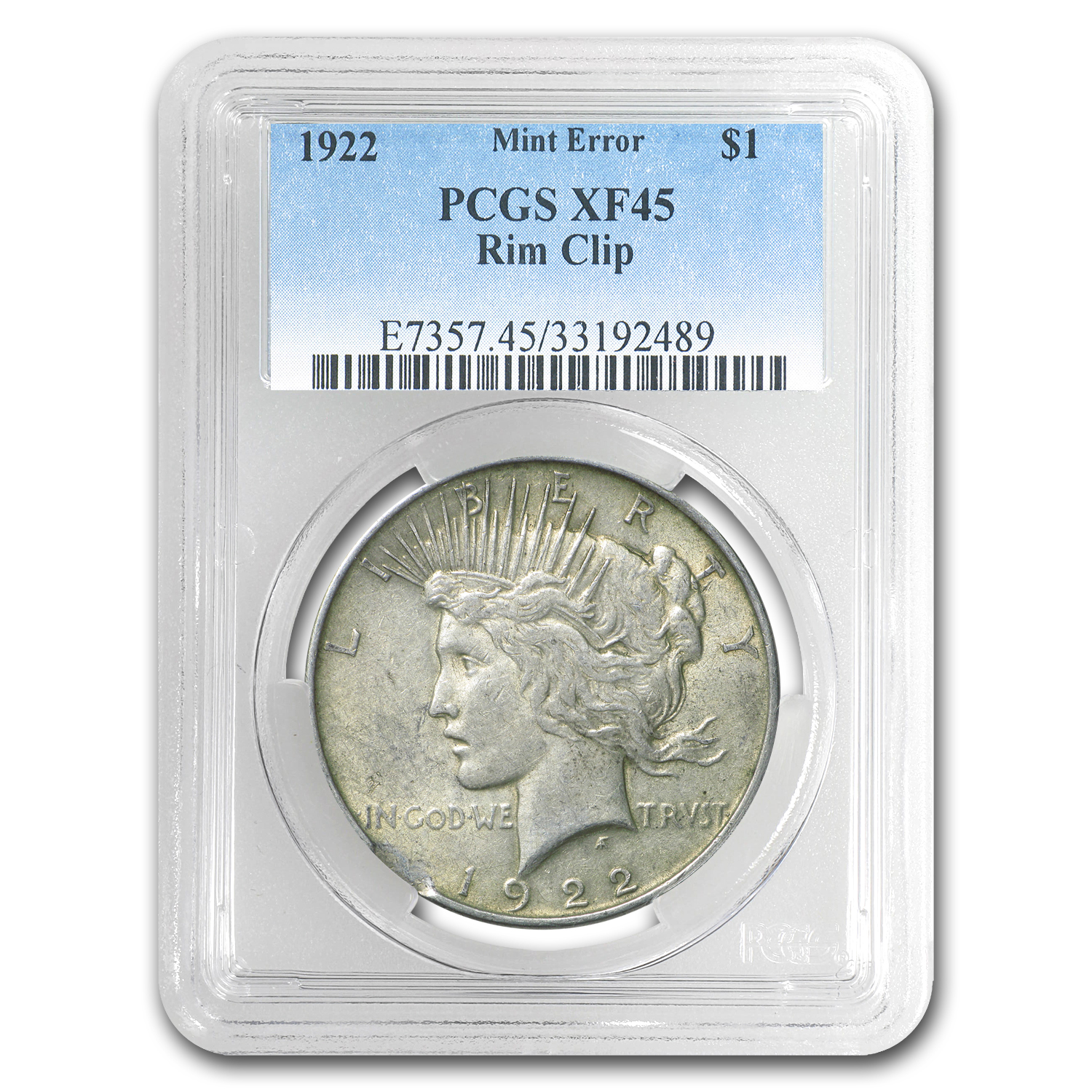 1922 Peace Dollar XF-45 PCGS (Rim Clip Mint Error)