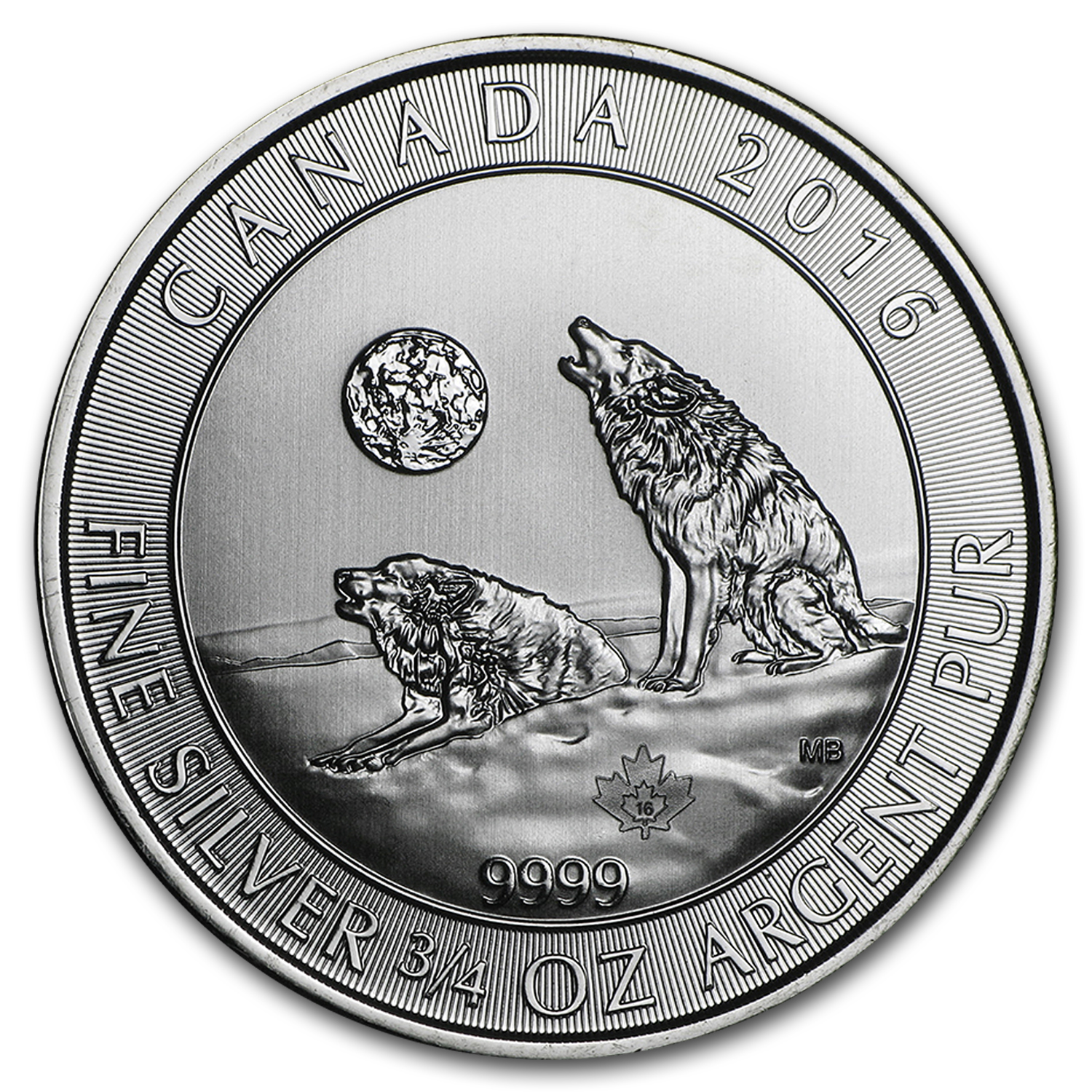 2016 Canada 600-Coin 3/4 oz Ag Howling Wolves (Sealed Box #4)