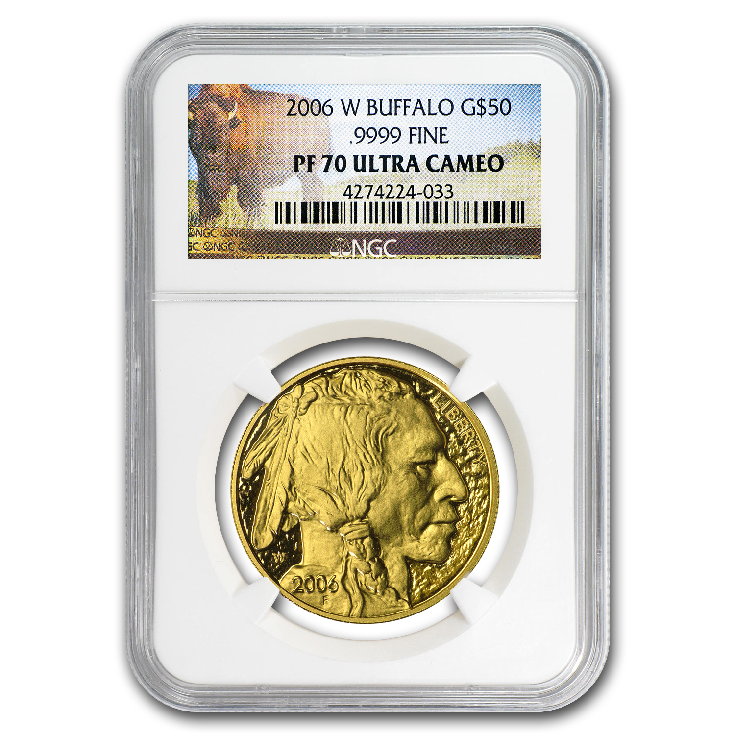 2006-W 1 oz Proof Gold Buffalo PF-70 NGC (Buffalo Label)