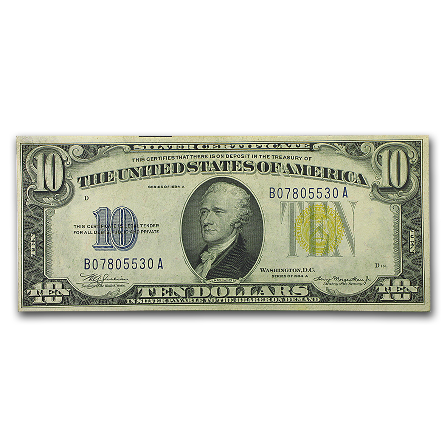 1934-A $10 Silver Certificate Yellow Seal-North Africa AU