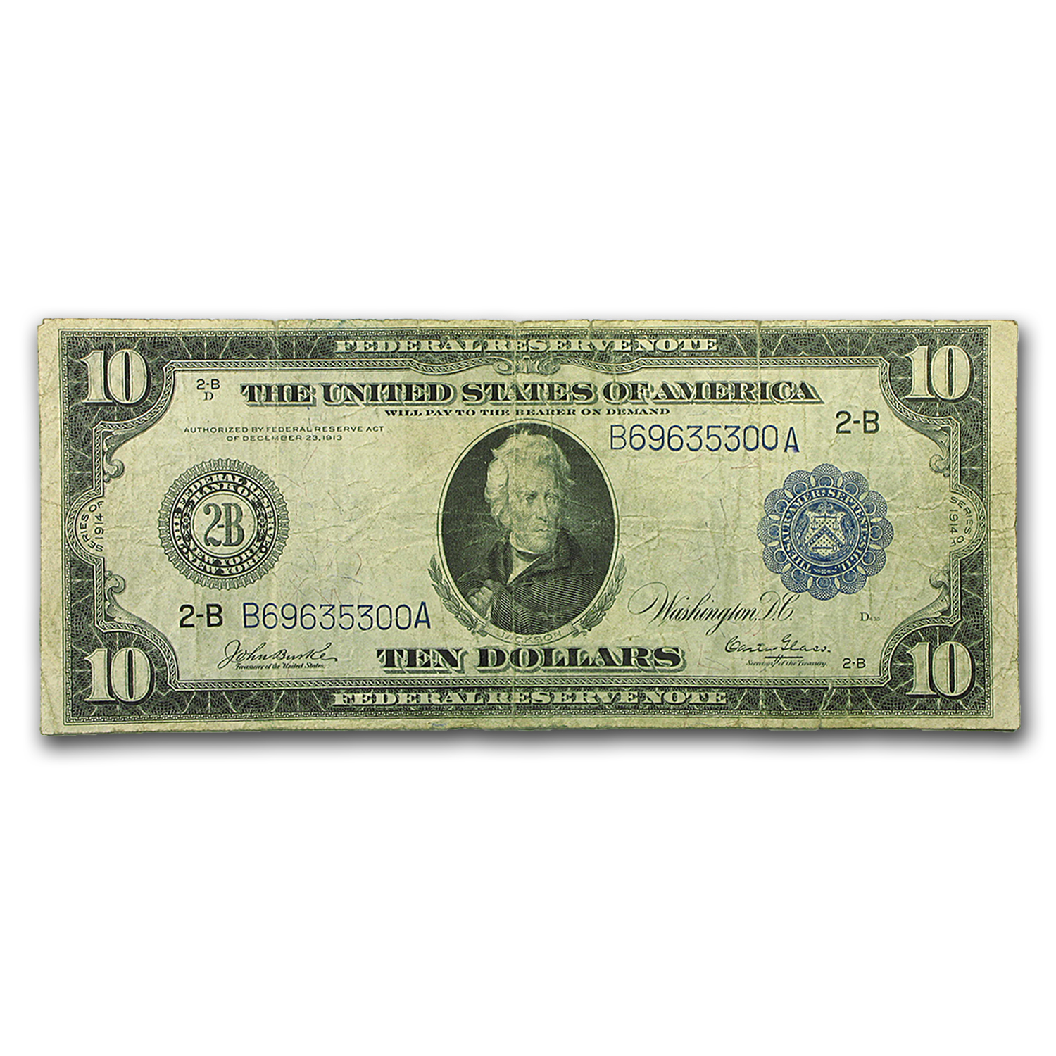 1914 (B-New York) $10 FRN Fine