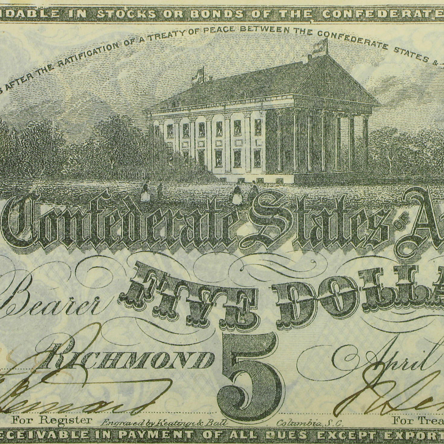 1863 $5.00 (T-60) Capitol @ Richmond, VA CU (Canceled)