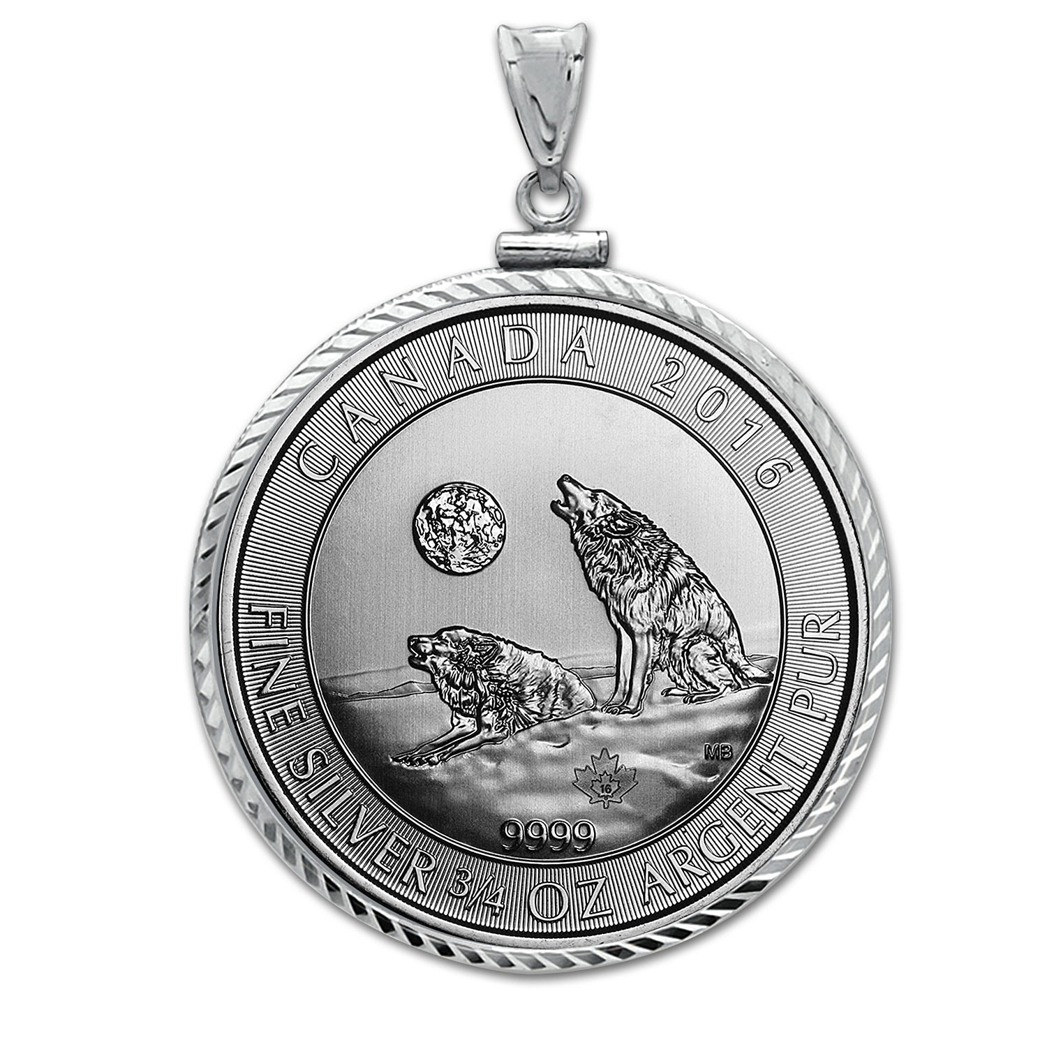 2016 3/4 oz Silver Howling Wolves Pendant (Diamond-ScrewTop Bzl)