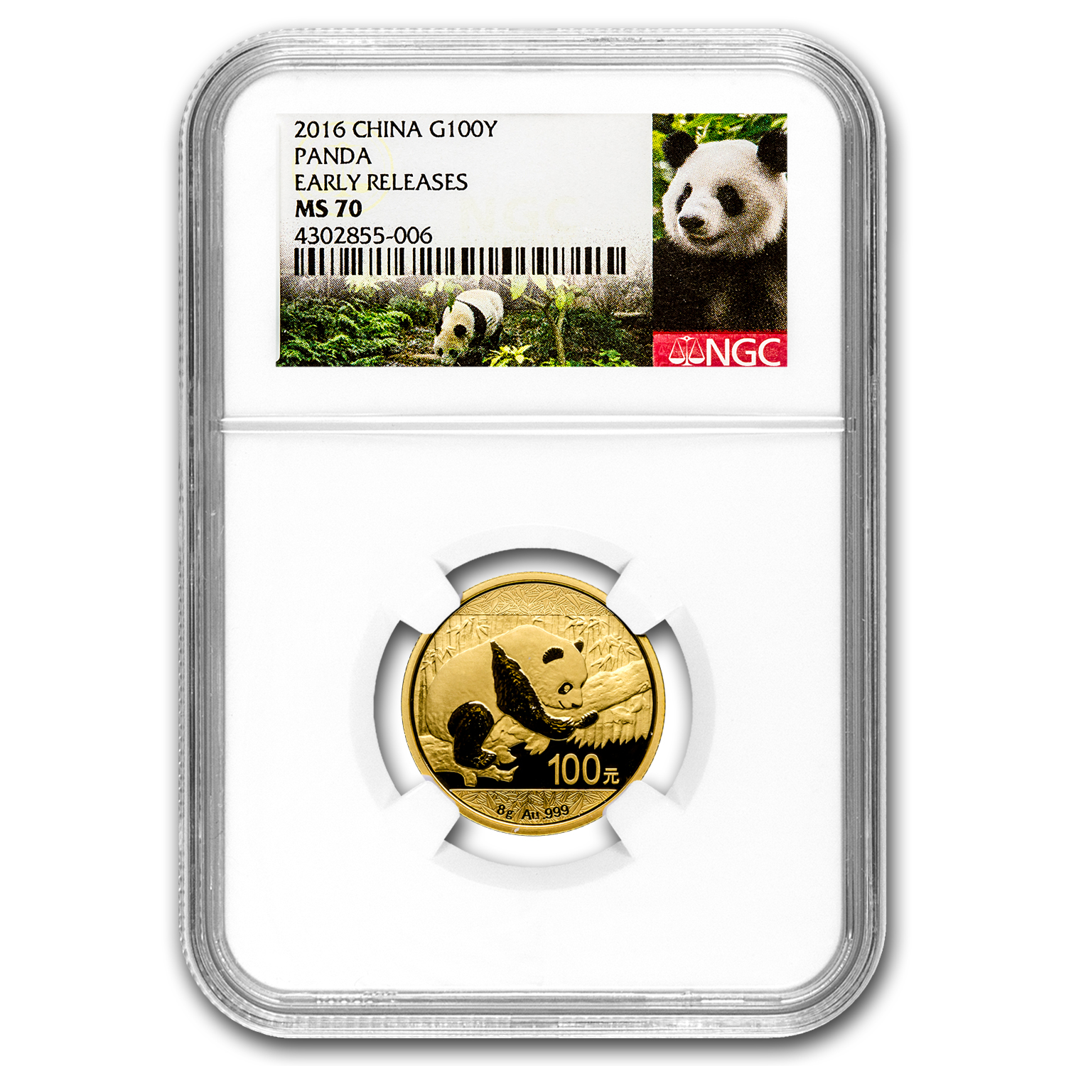 2016 China 8 Gram Gold Panda MS-70 NGC (Early Releases)