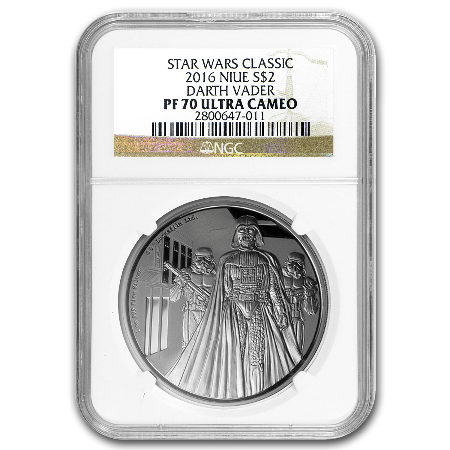 2016 Niue 1 oz Silver $2 Star Wars Darth Vader PF-70 NGC