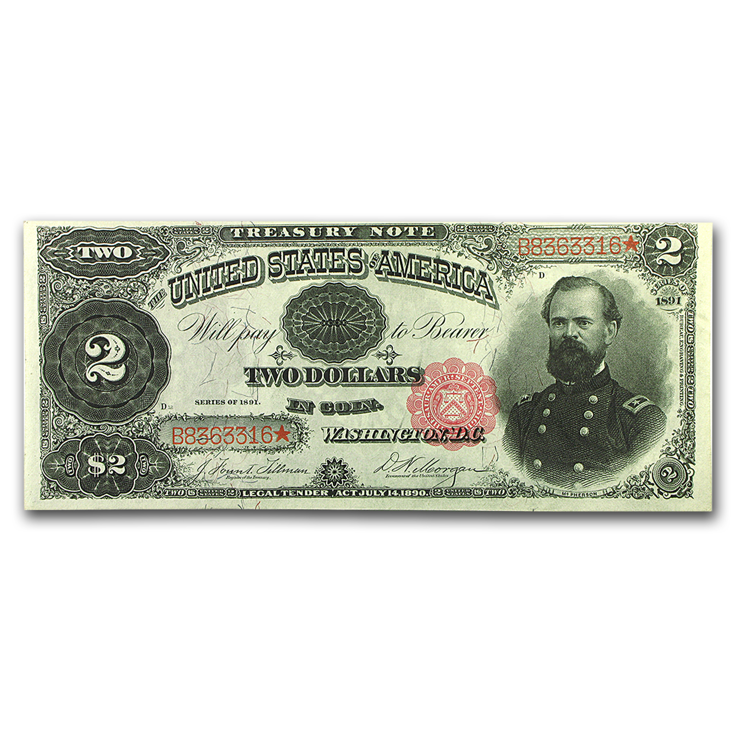 1891 $2.00 Treasury Note CU