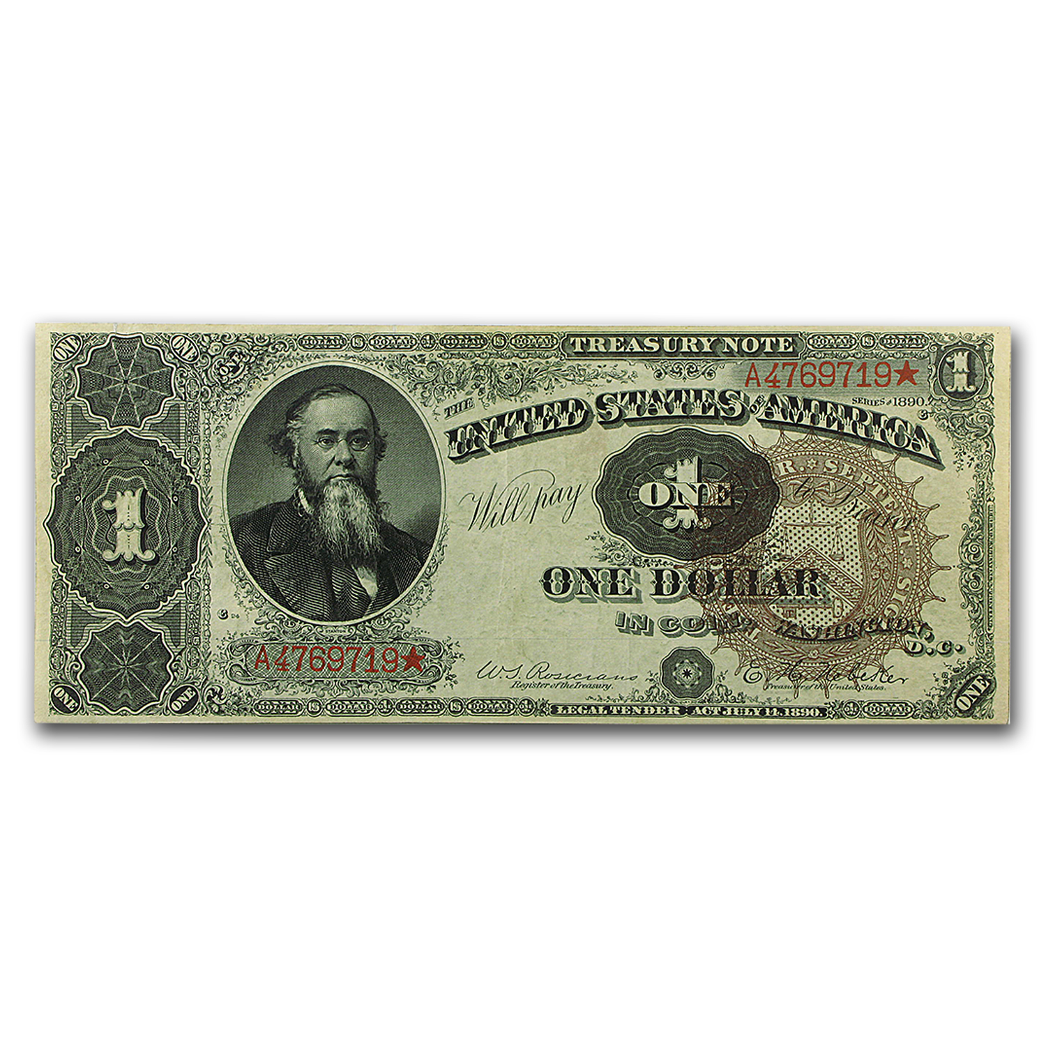1890 $1.00 Treasury Note Stanton XF