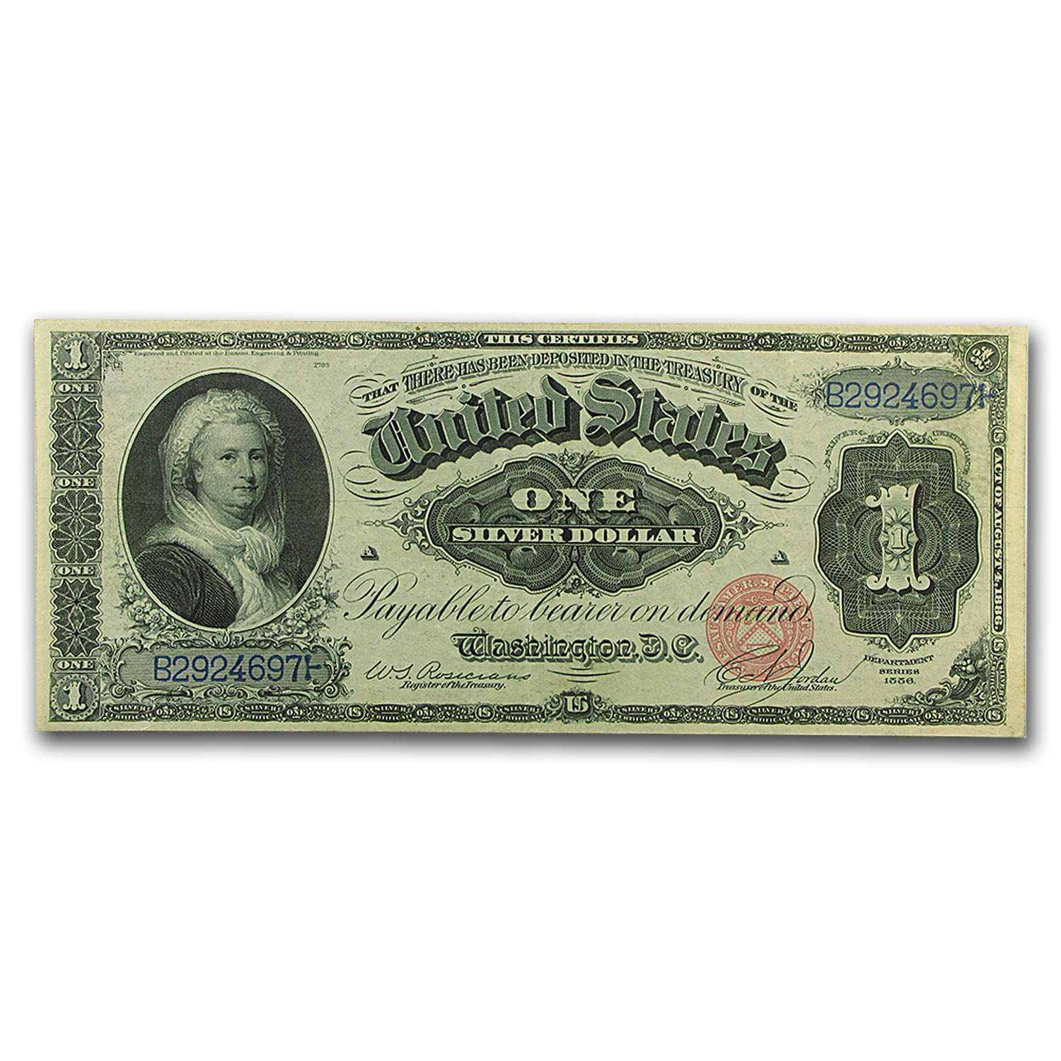 1886 $1.00 Silver Certificate Martha Washington XF