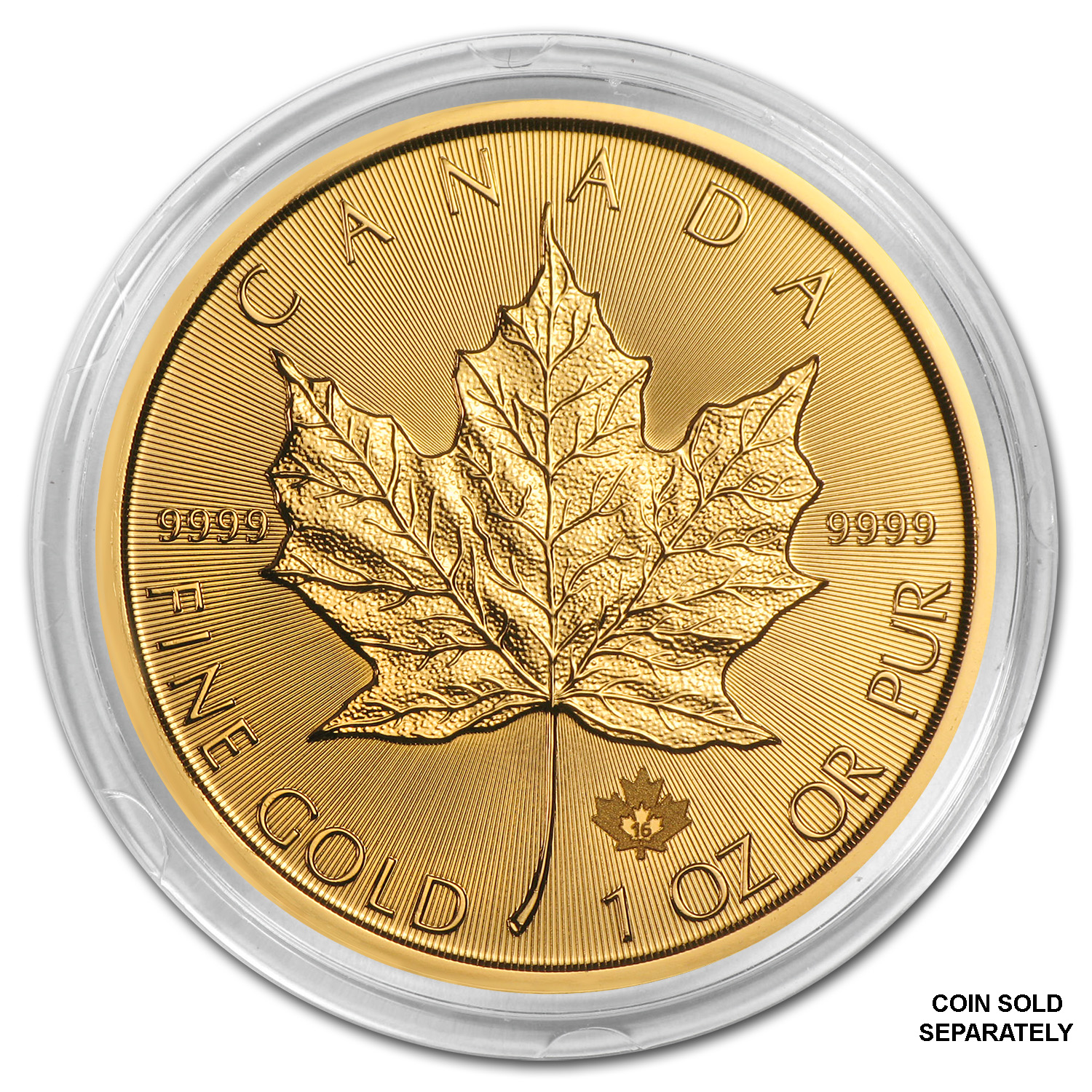 Gold Canadian Maple Leaf Direct Fit Capsule — 1 oz