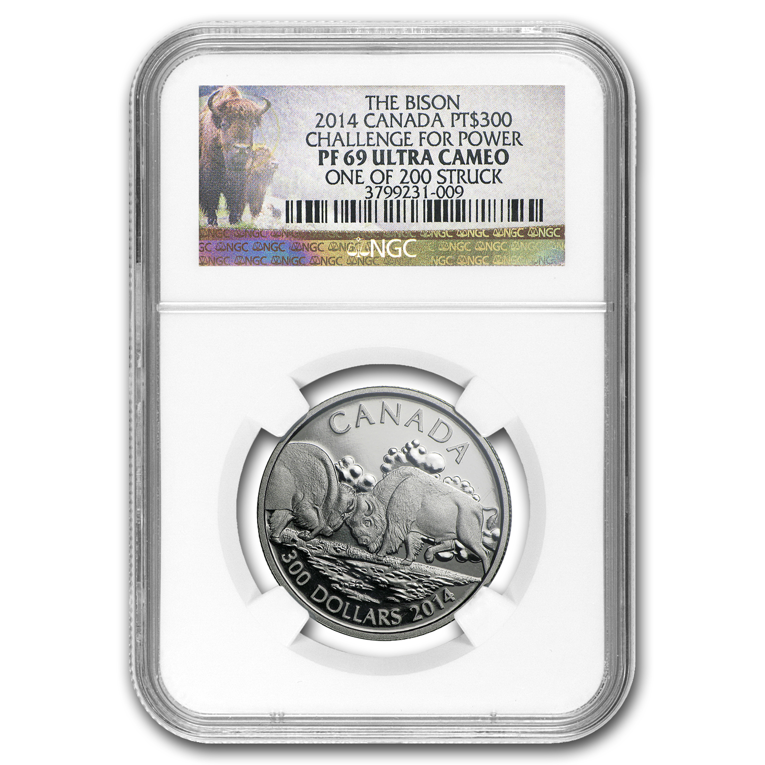 2014 Canada 1 oz Proof Platinum $300 Fighting Bison PF-69 NGC