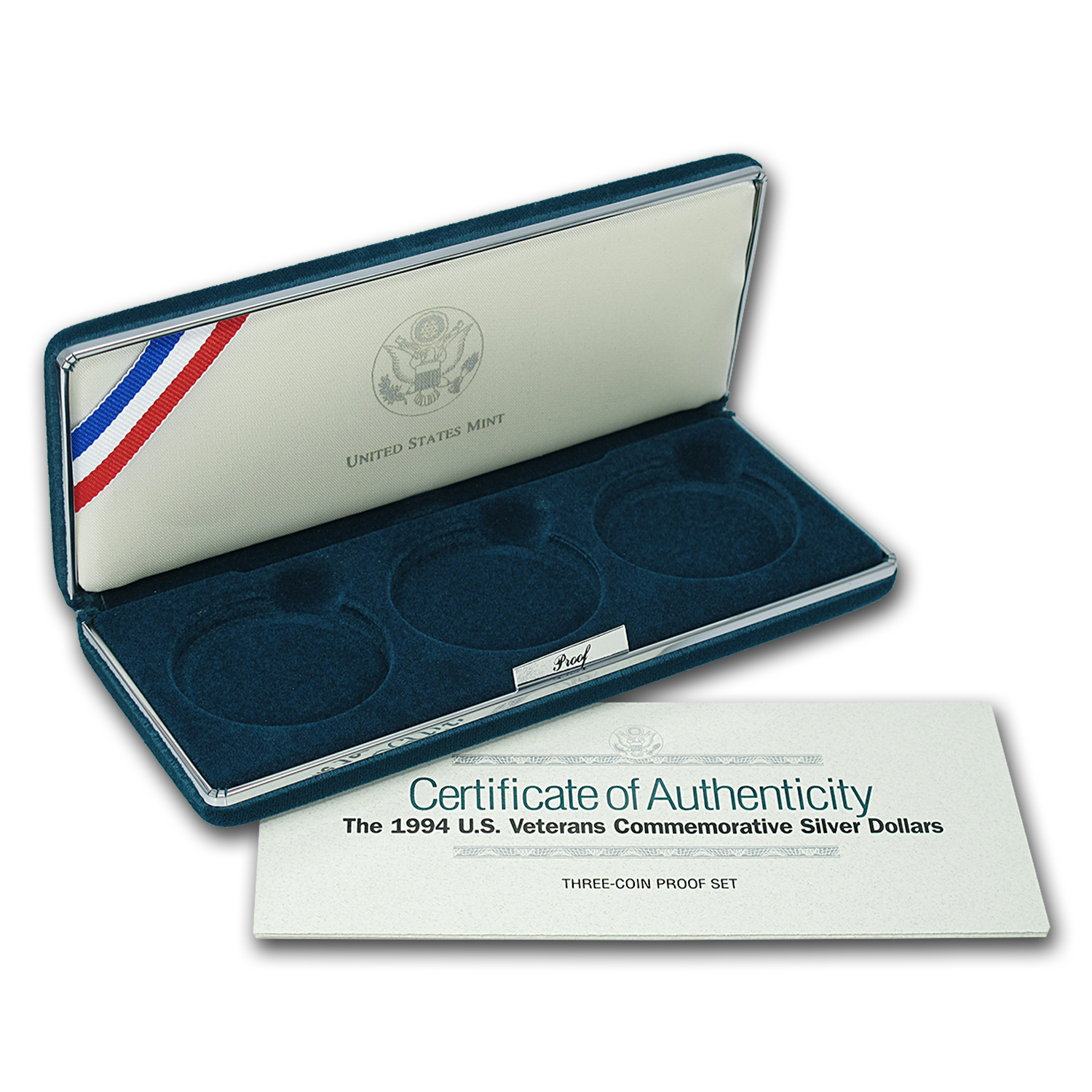 OGP Box & COA - 1994 3-Coin Veterans Commem Proof Silver Dollars