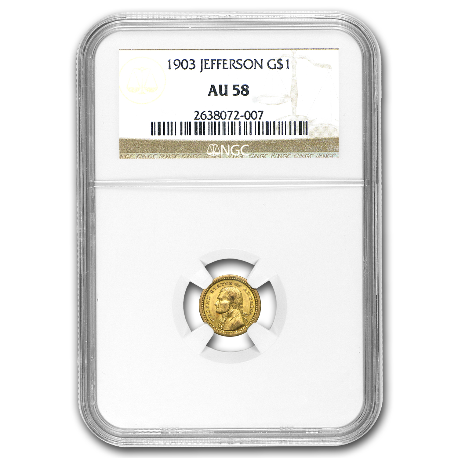 1903 Gold $1.00 Louisiana Purchase Jefferson AU-58 NGC