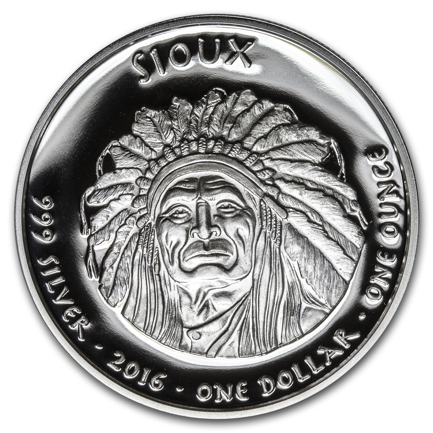 2016 1 oz Silver Proof State Dollars South Dakota Sioux