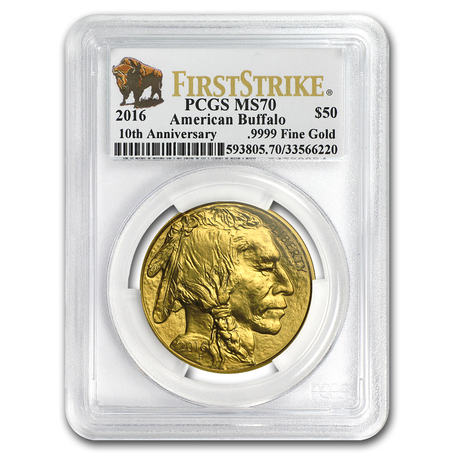 2016 1 oz Gold Buffalo MS-70 PCGS (First Strike, Buffalo Label)