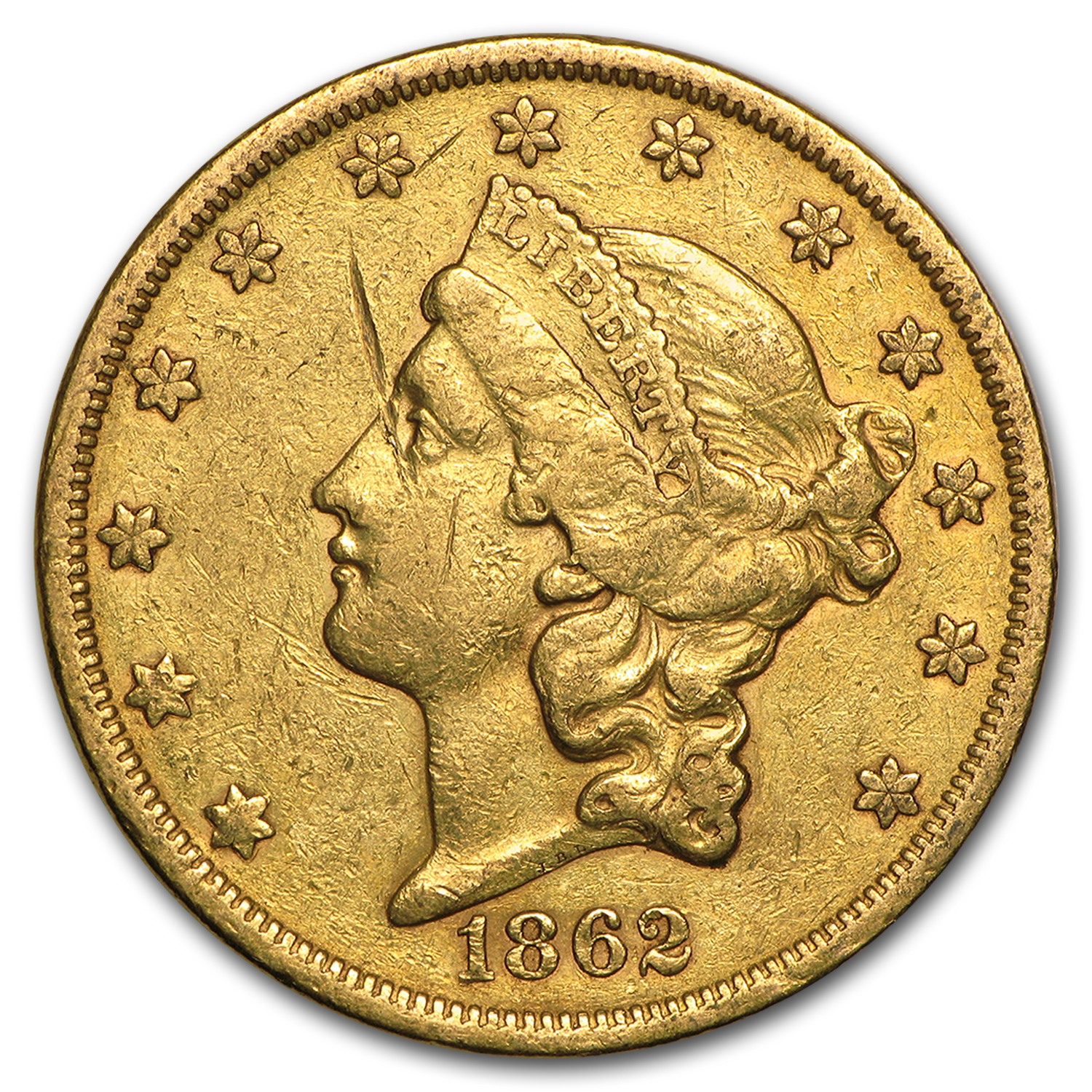 1862-S $20 Liberty Gold Double Eagle VF Details (Cleaned)