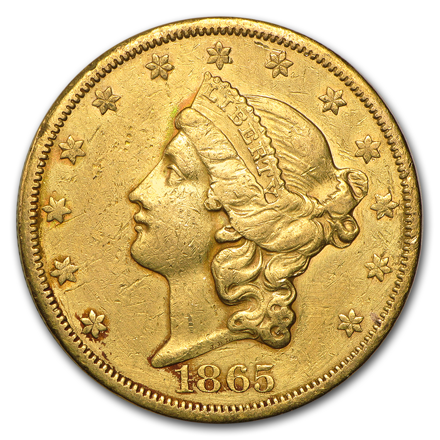 1865-S $20 Liberty Gold Double Eagle VF Details (Cleaned)