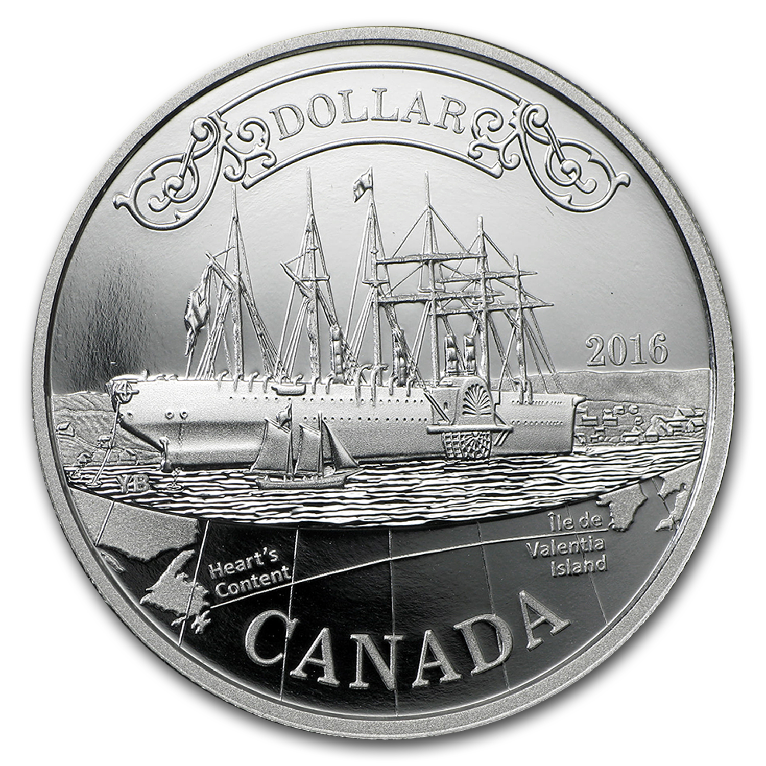 2016 Canada Proof Silver Dollar Anniv of Transatlantic Cable