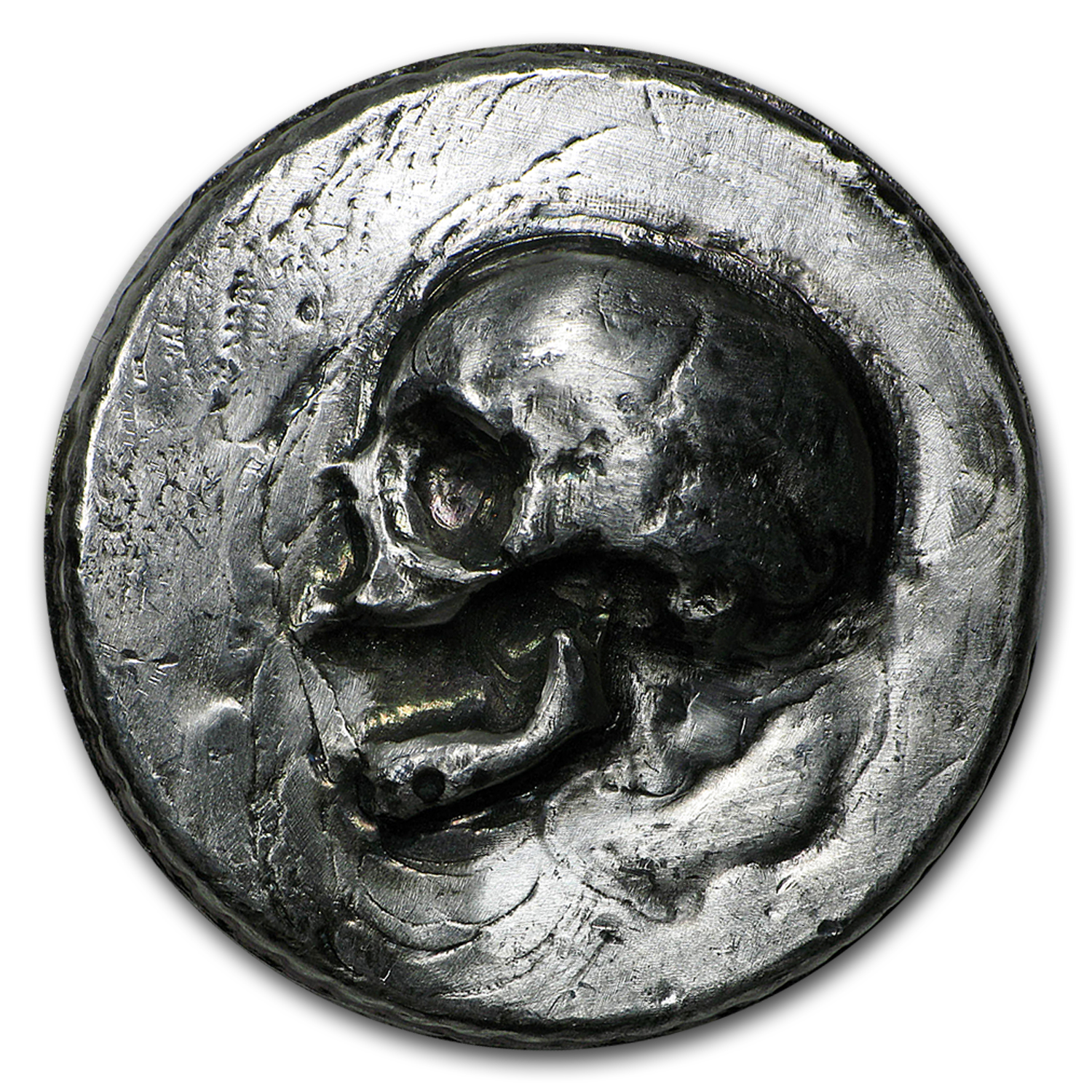 3 oz Silver Ultra High Relief Round - MK Barz & Bullion (Skull)