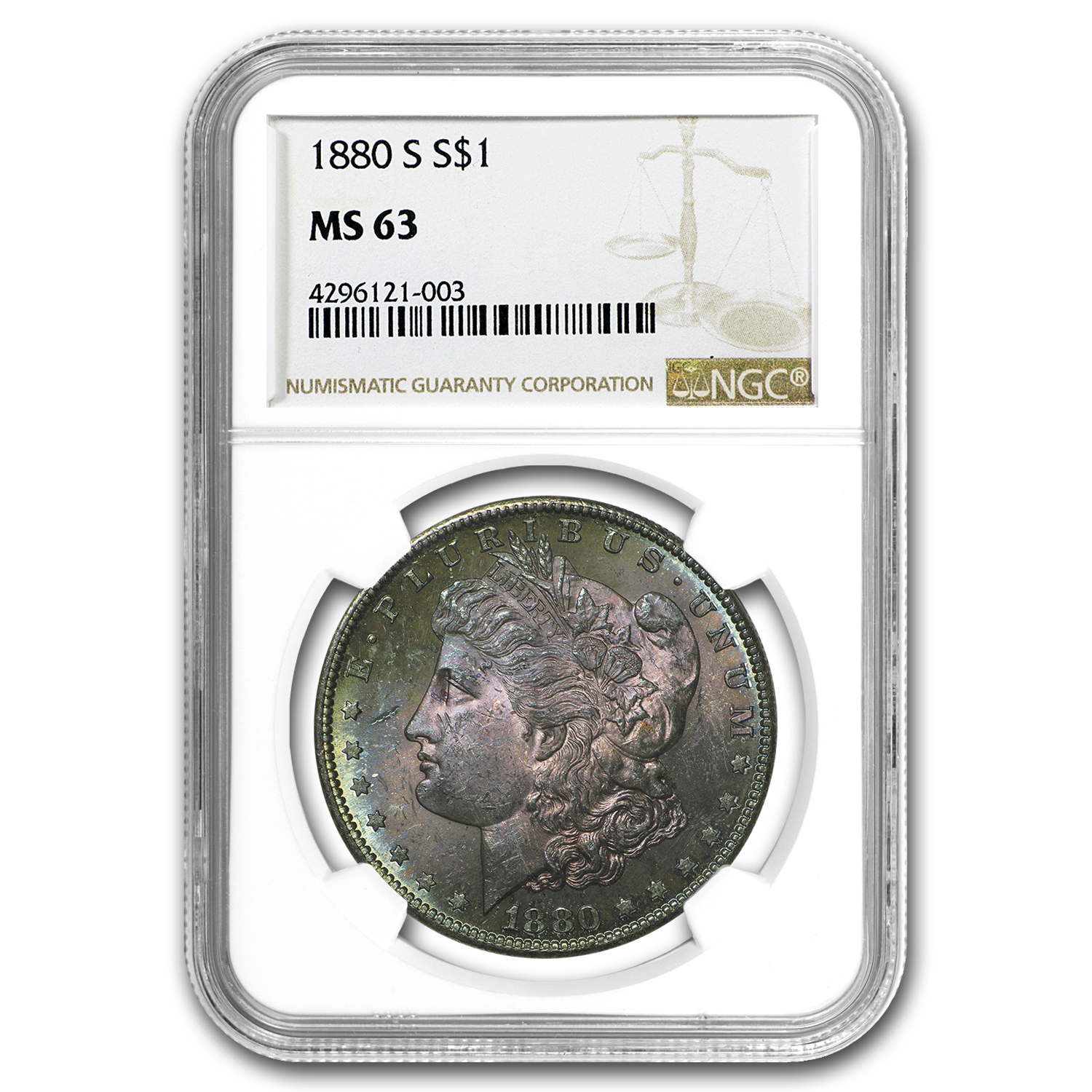 1880-S Morgan Dollar MS-63 NGC (Nice Obv Toning)