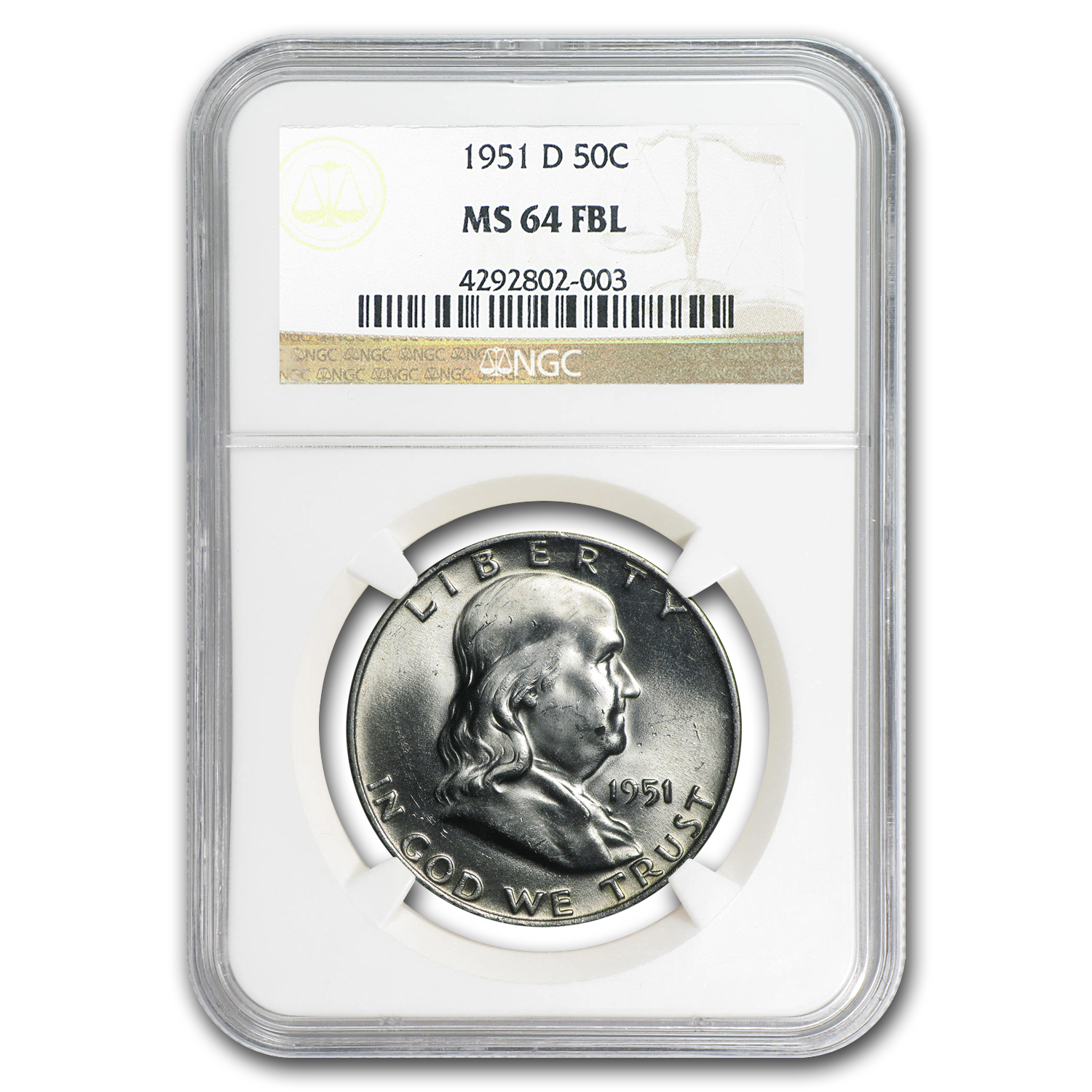 1951-D Franklin Half Dollar MS-64 NGC (FBL)
