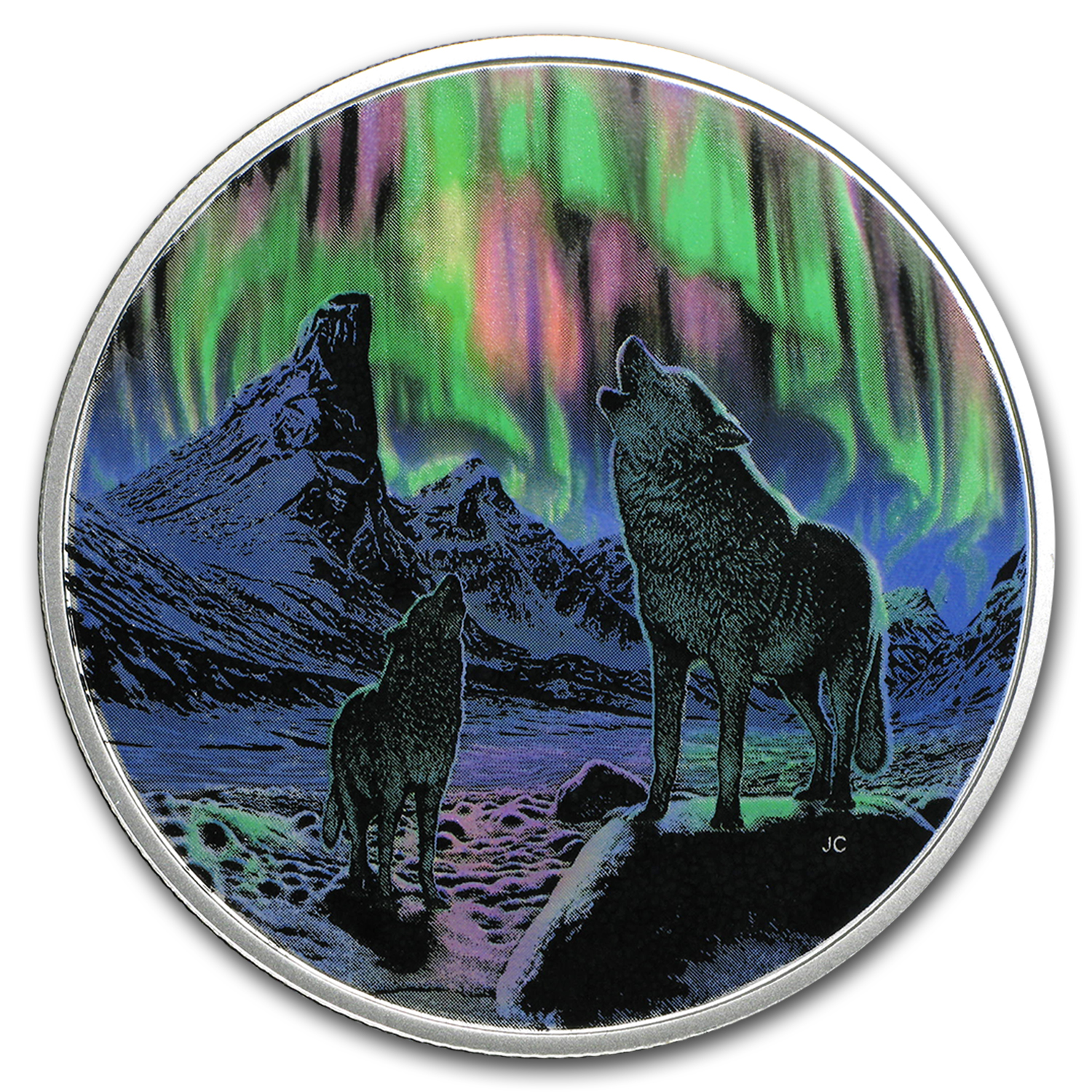 2016 Canada 2 oz Silver $30 Northern Lights: Wolves in Moonlight